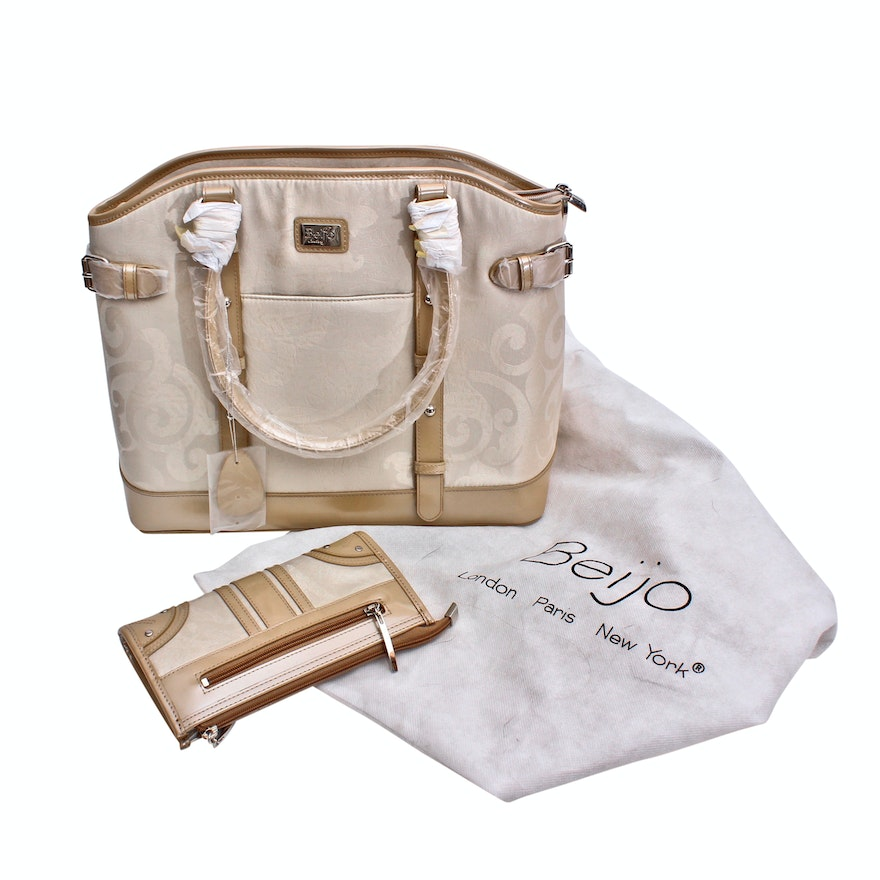 Beijo Couture Jacquard Canvas and Leather Handbag and Wallet   EBTH 94d2587bdf