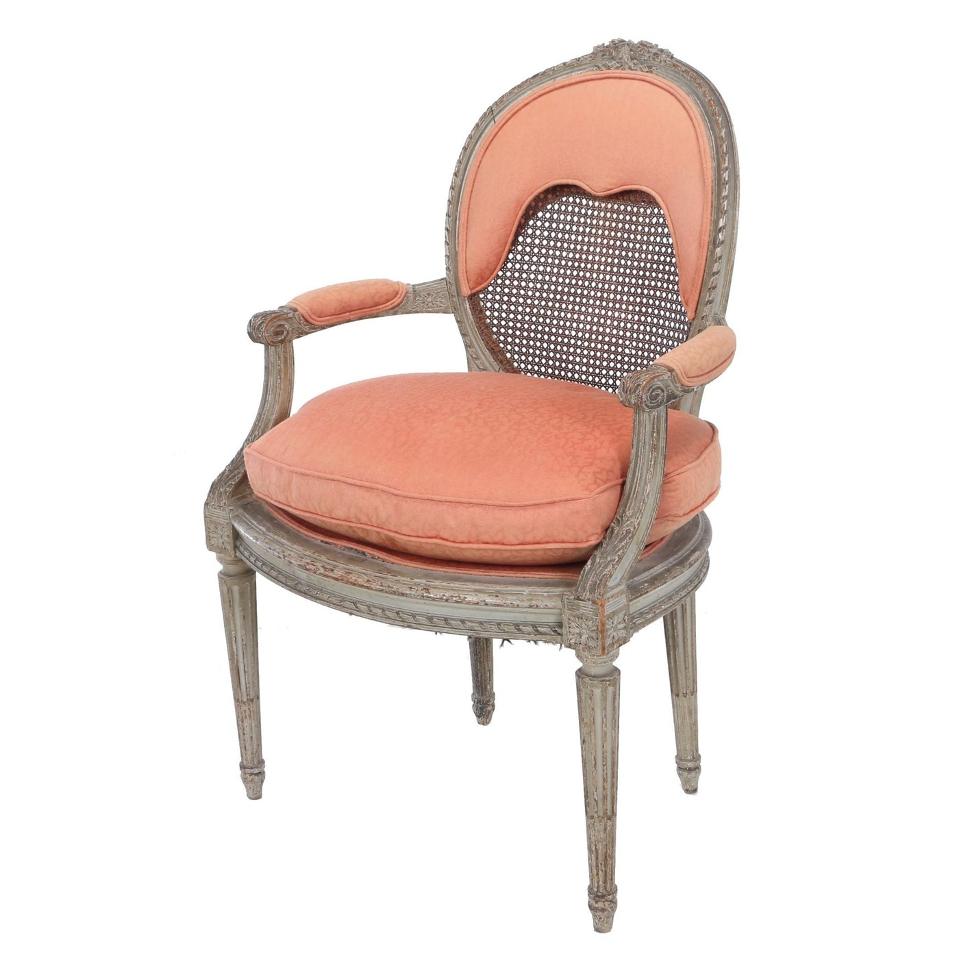 Louis XVI Style Painted Fauteuil by Bedel & Cie, Late 19th/Early 20th Century