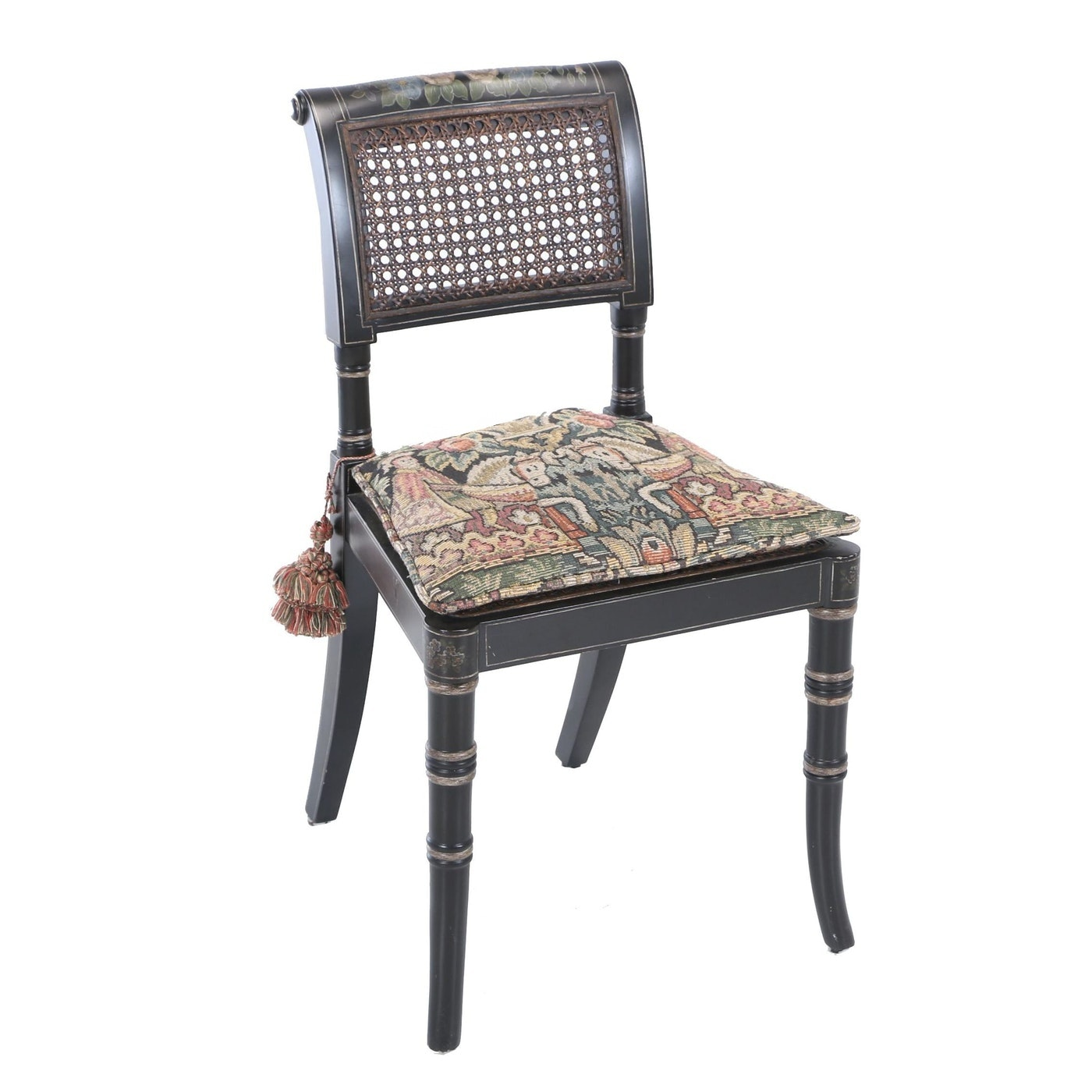 Regency Style Ebonized, Painted, and Caned Child's Side Chair, 20th Century