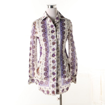 719b108ad42a8a 1960s-70s Vintage Emilio Pucci Printed Cotton Button-Up Shirt