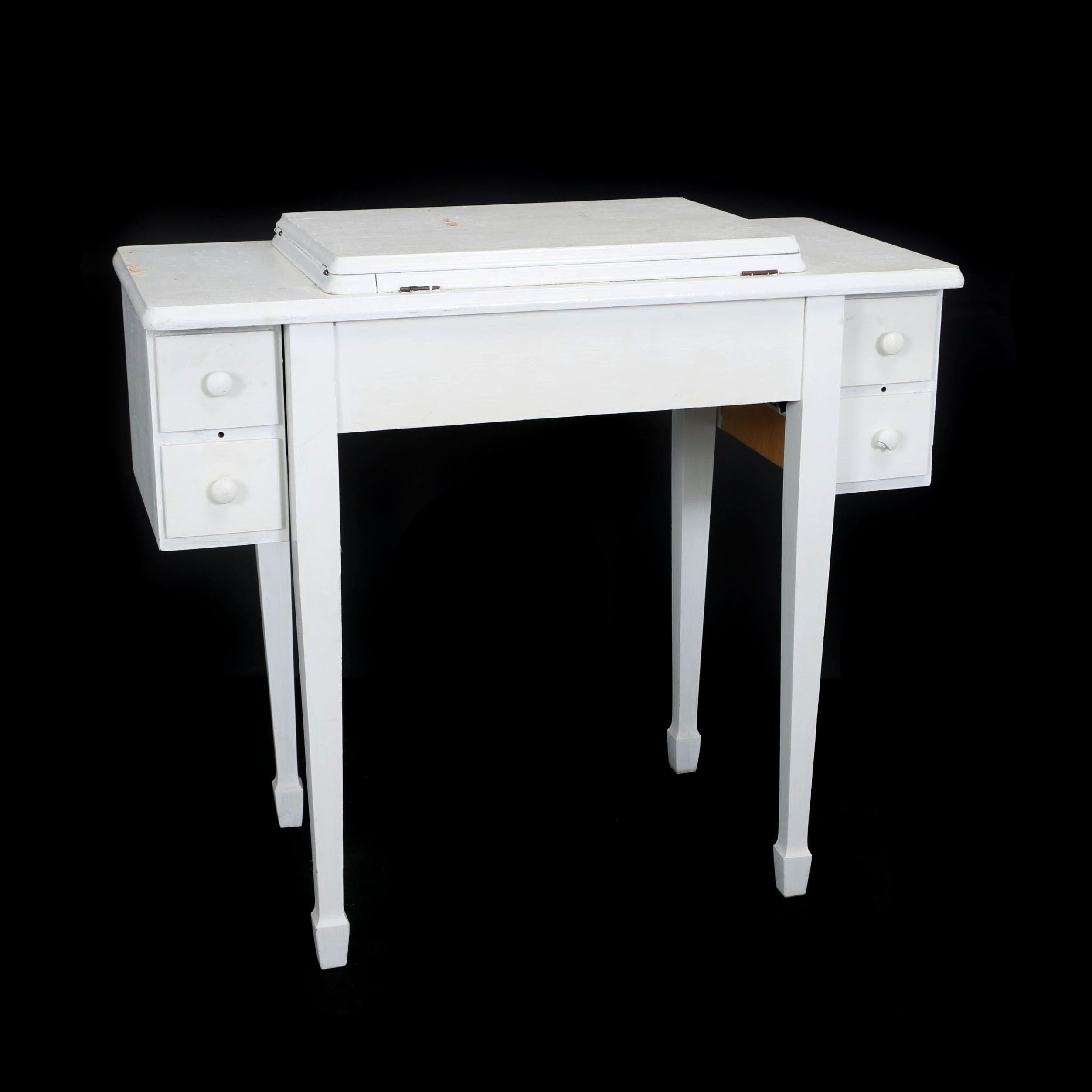 Federal Style Painted Wood Sewing Table, Mid-20th Century