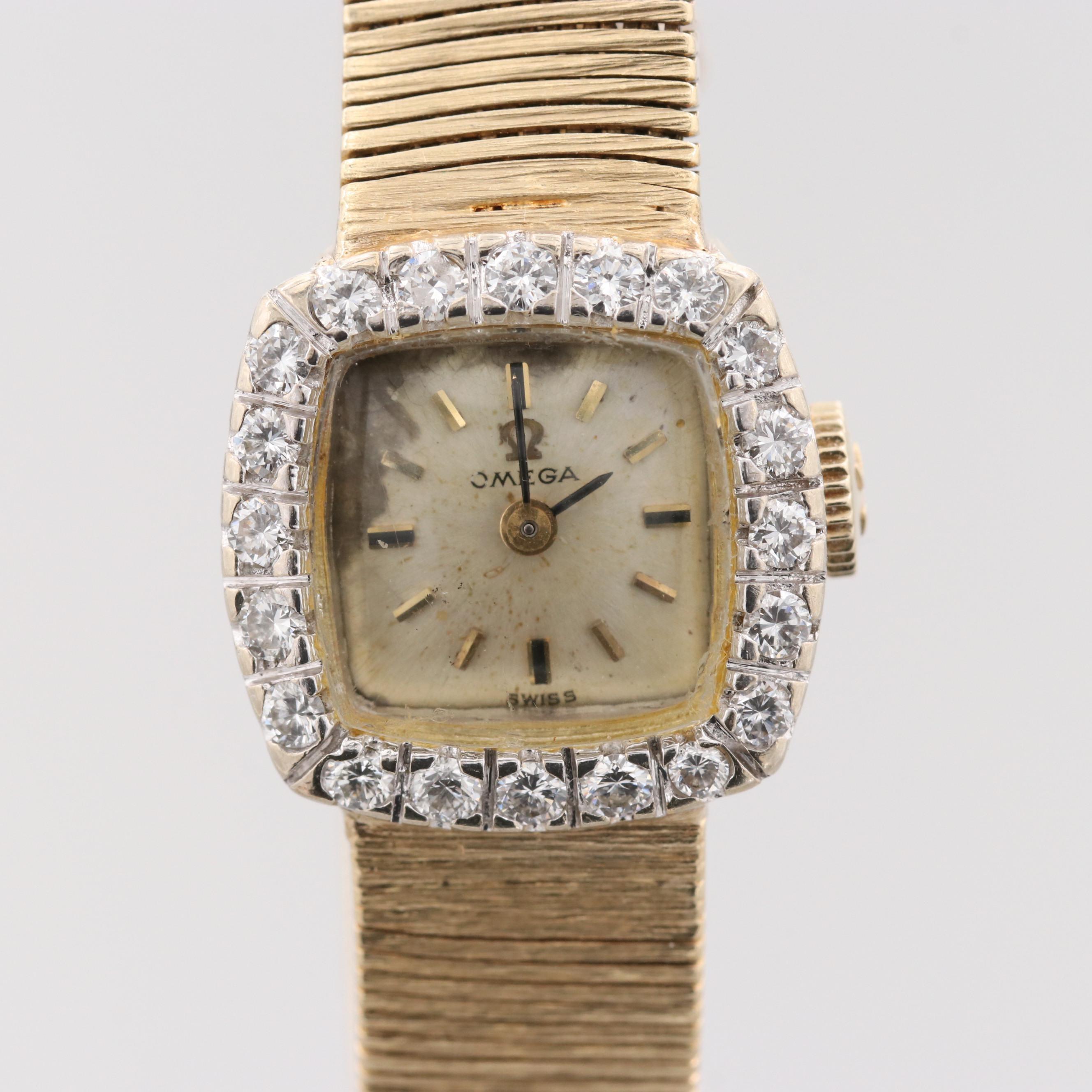 Omega 14K Yellow Gold Wristwatch With Diamond Bezel