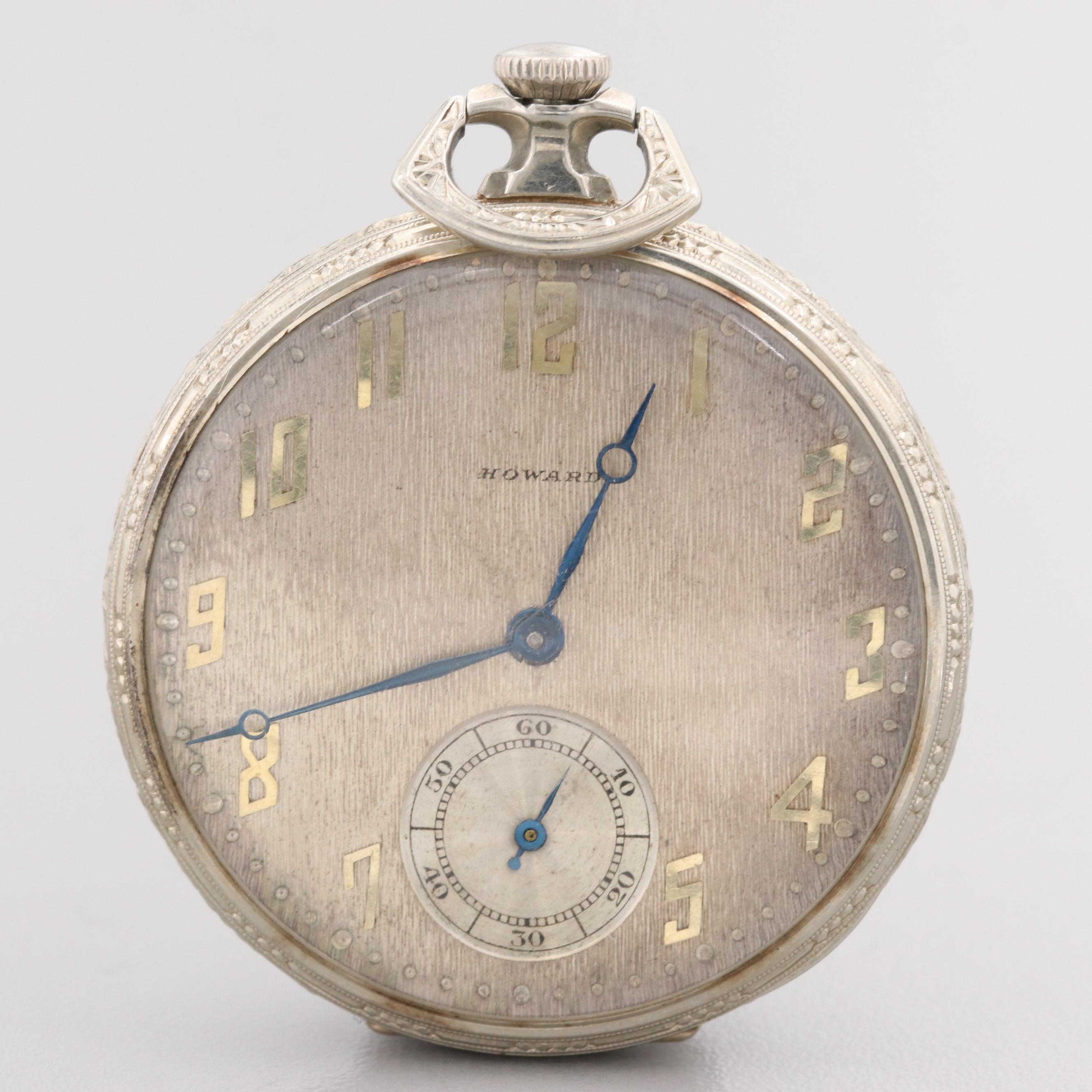 E. Howard Watch Co. Boston 14K White Gold Pocket Watch