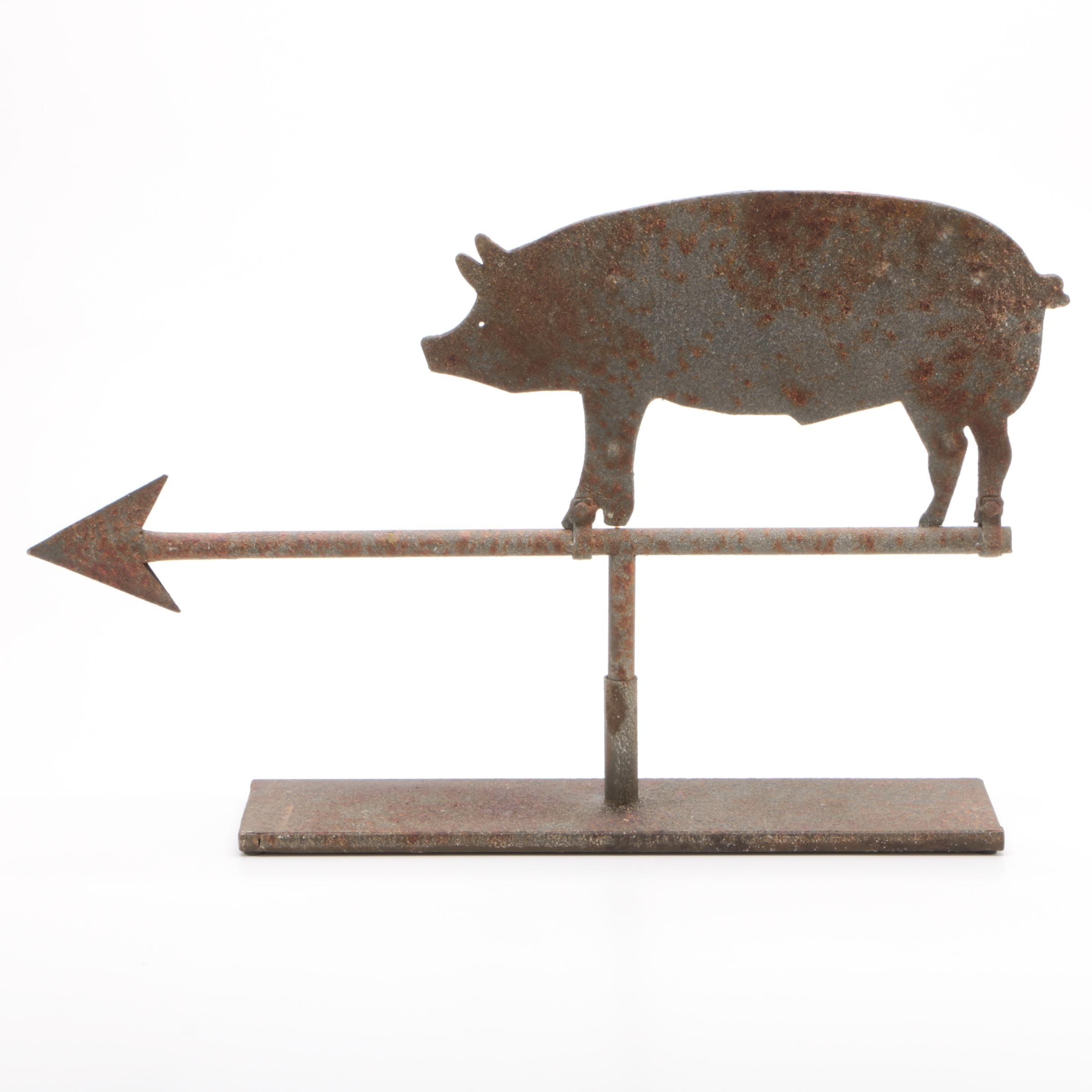 "Industrial Style Metal ""Pig on Arrow"" Decorative Weather Vane"
