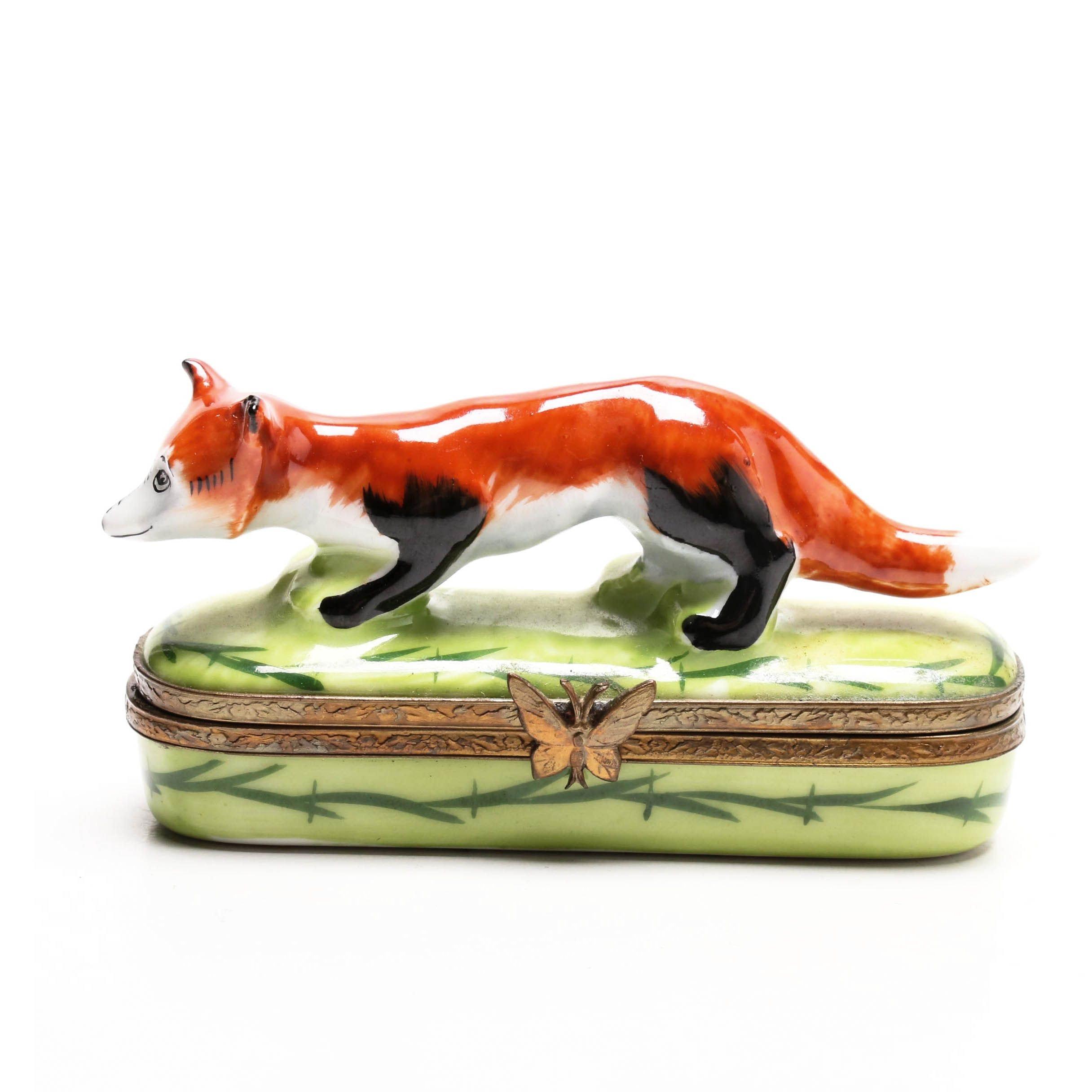 Limoges Hand-Painted Porcelain Figural Fox Trinket Box