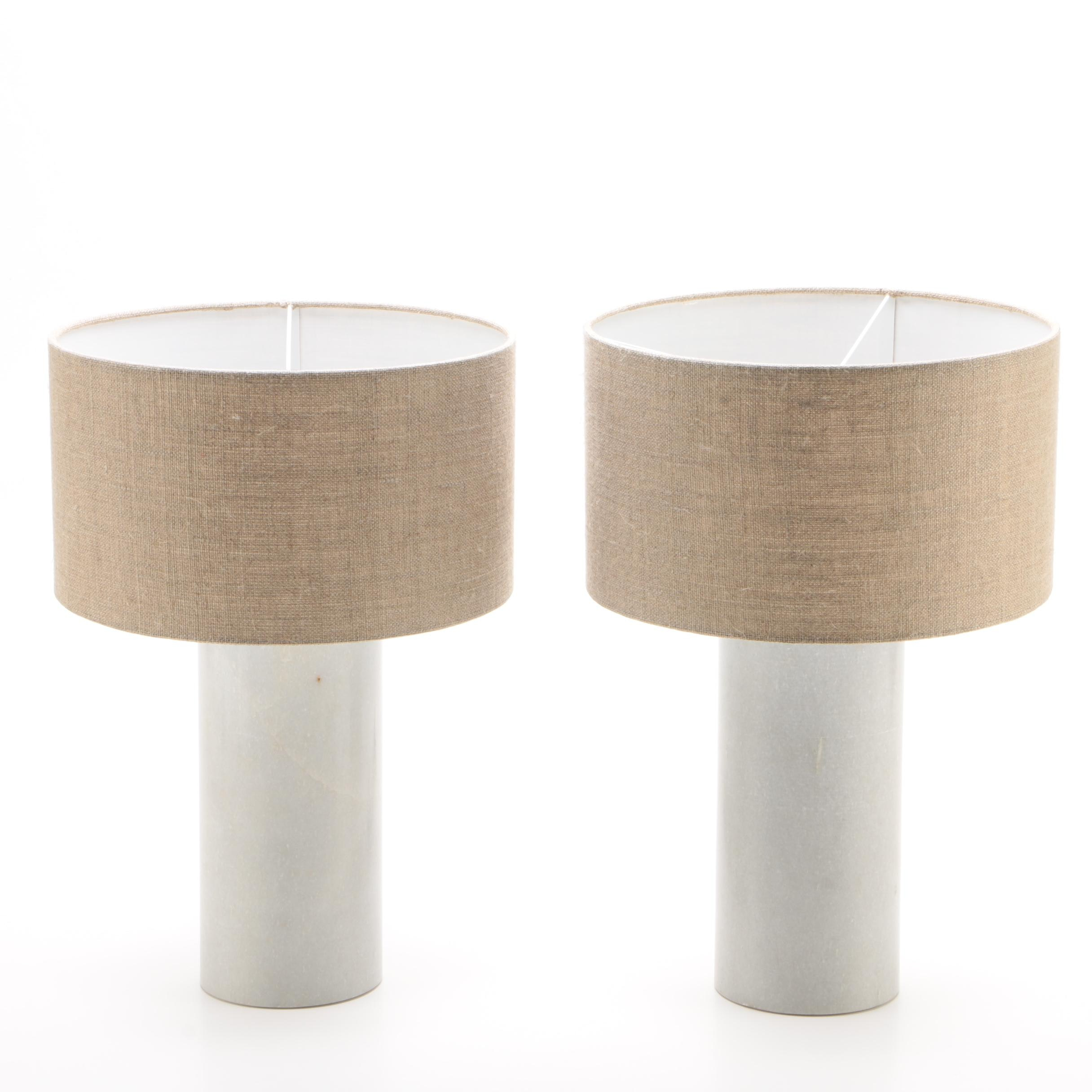 """Glam"" Marble and Gold Tone Metal Table Lamps with Linen Shades"