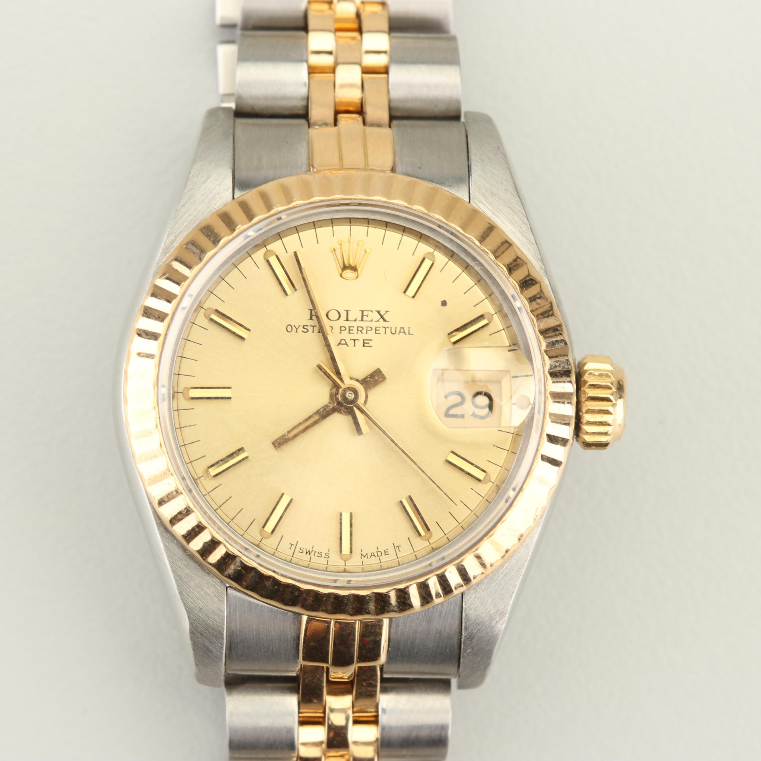 Vintage Rolex Oyster Perpetual Stainless Steel and 18K Yellow Gold Wristwatch