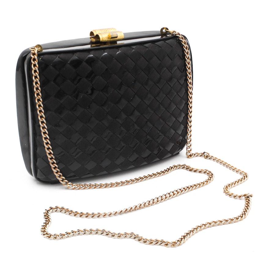 1e1a0aa7de04 Utopia Italy Black Ribbon Weave Patent Leather Evening Bag   EBTH