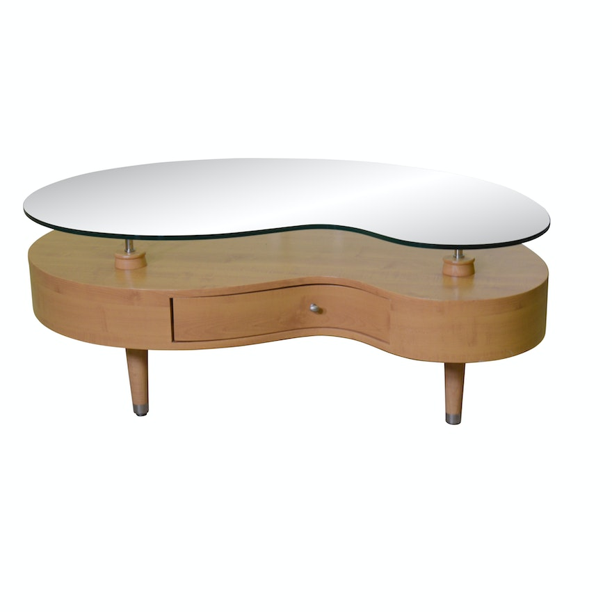 Contemporary Kidney Shaped Glass And Wood Cocktail Table Ebth