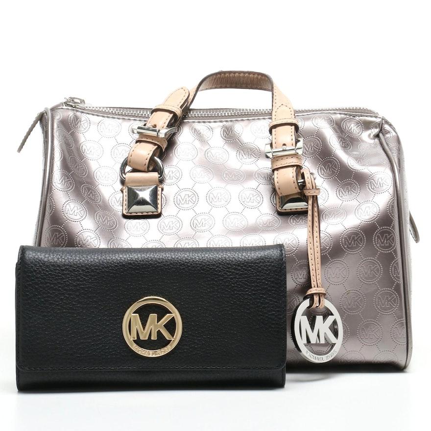 8878c5d30f32 MICHAEL Michael Black Leather Fulton Carryall Wallet and Monogram Duffel  Handbag ...