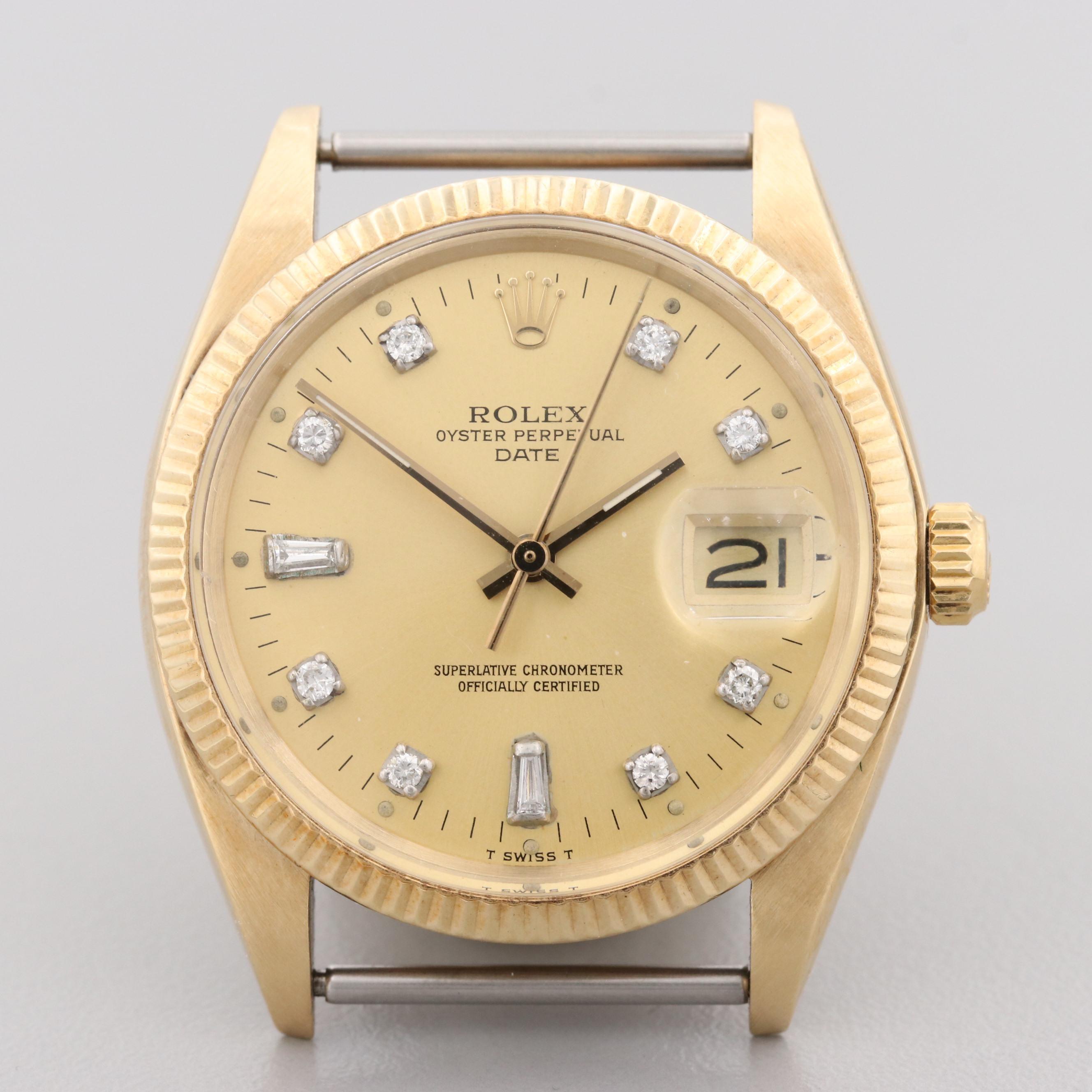 Rolex 14K Yellow Gold Wristwatch With Diamond Dial, 1978