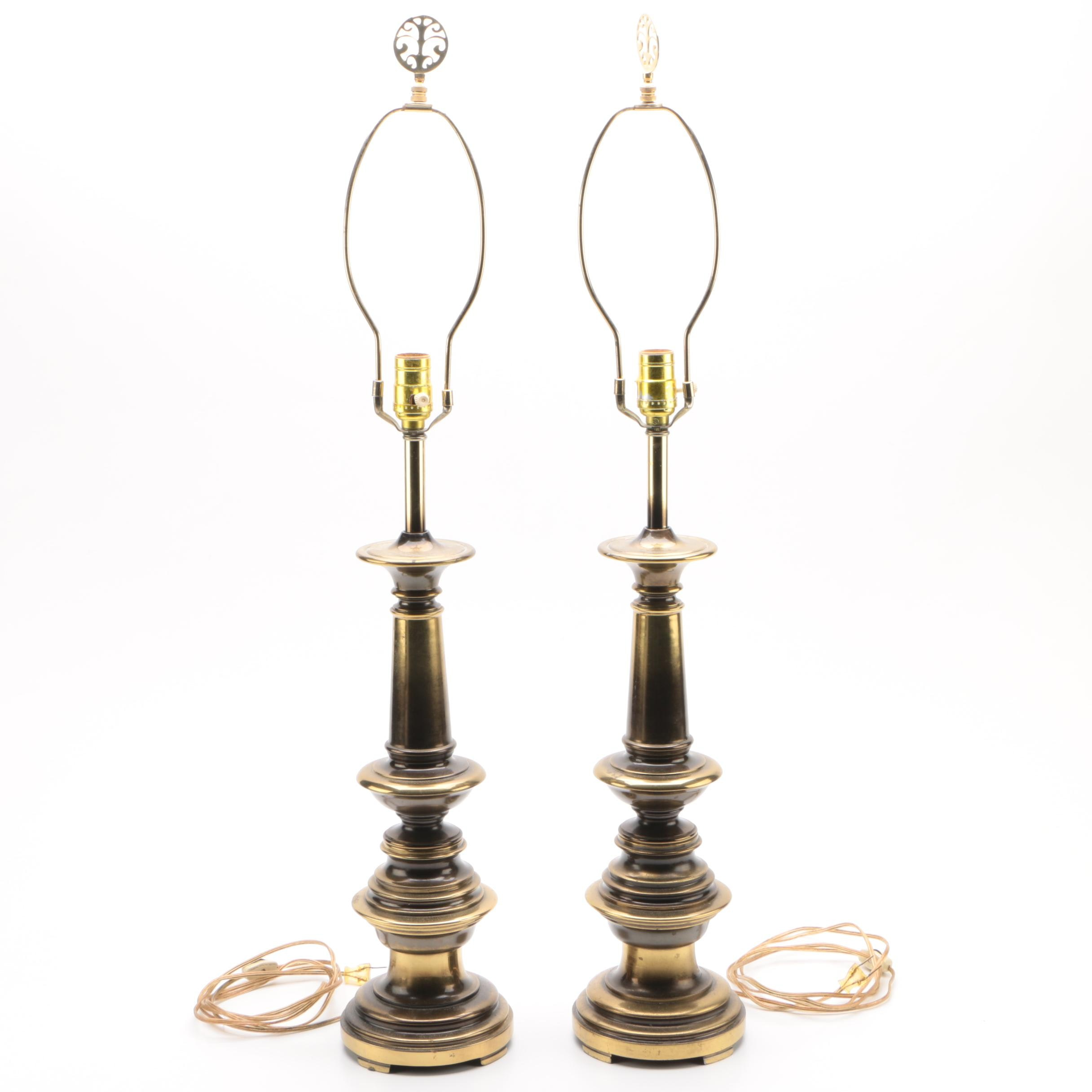 Brass Tone Candle Stand Style Table Lamps
