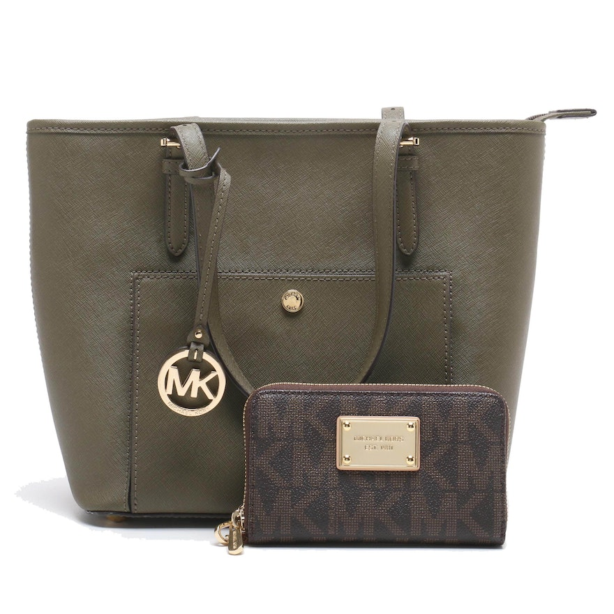 a7dc678102f3 MICHAEL Michael Kors Jet Set Travel Medium Saffiano Leather Tote and  Wristlet : EBTH