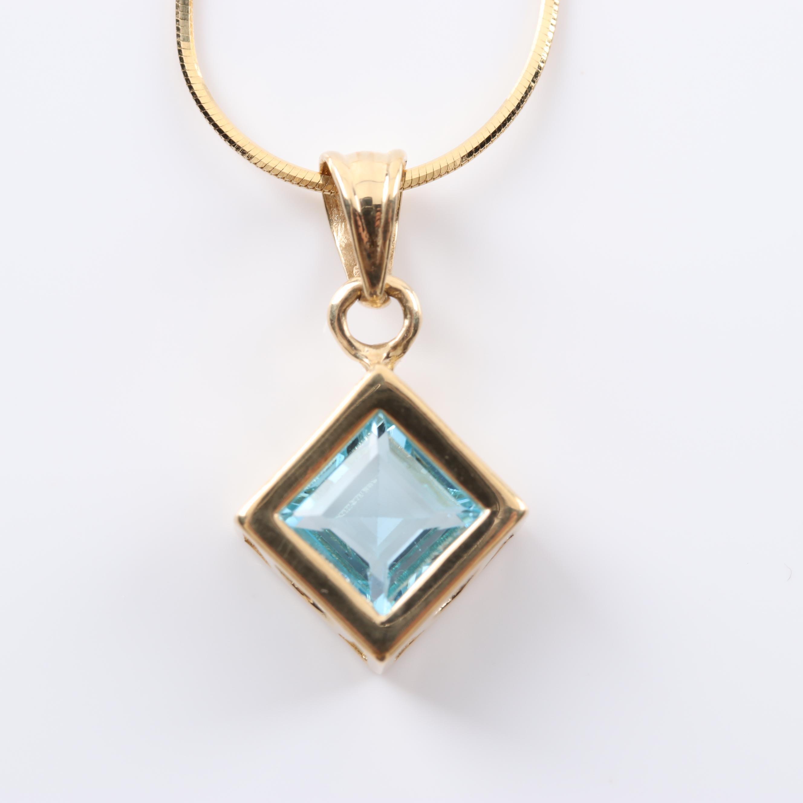 14K Yellow Gold Topaz Pendant Necklace