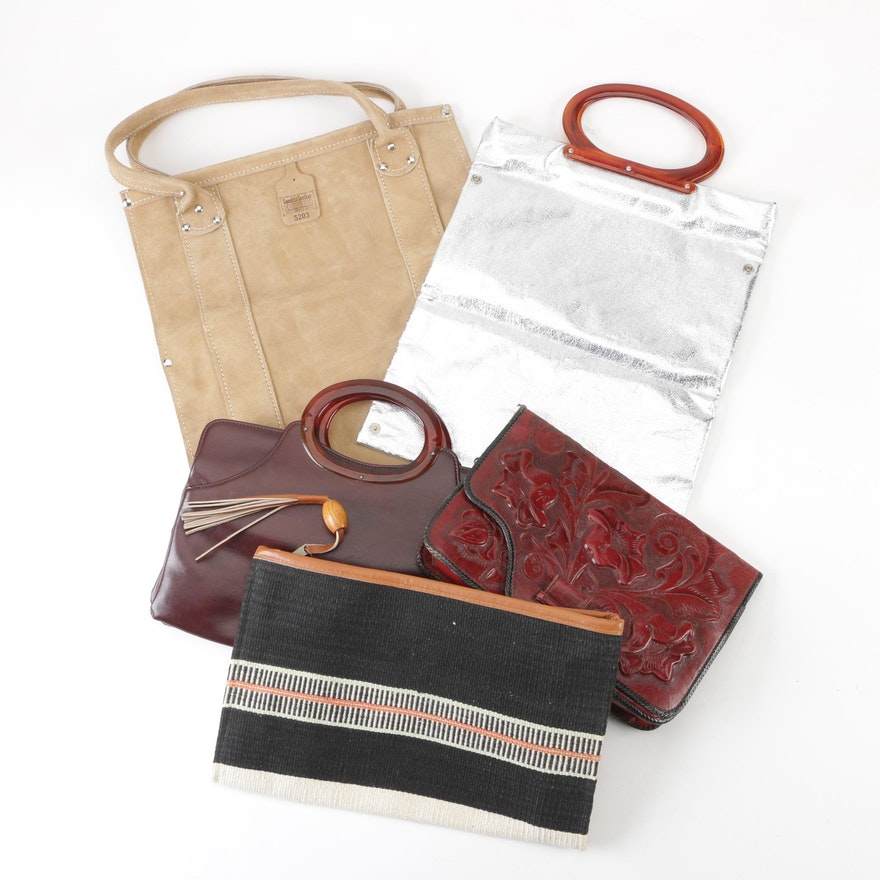 3ad341f143cd Leather and Woven Handbags Including Mexican Floral Tooled Red Leather,  Vintage