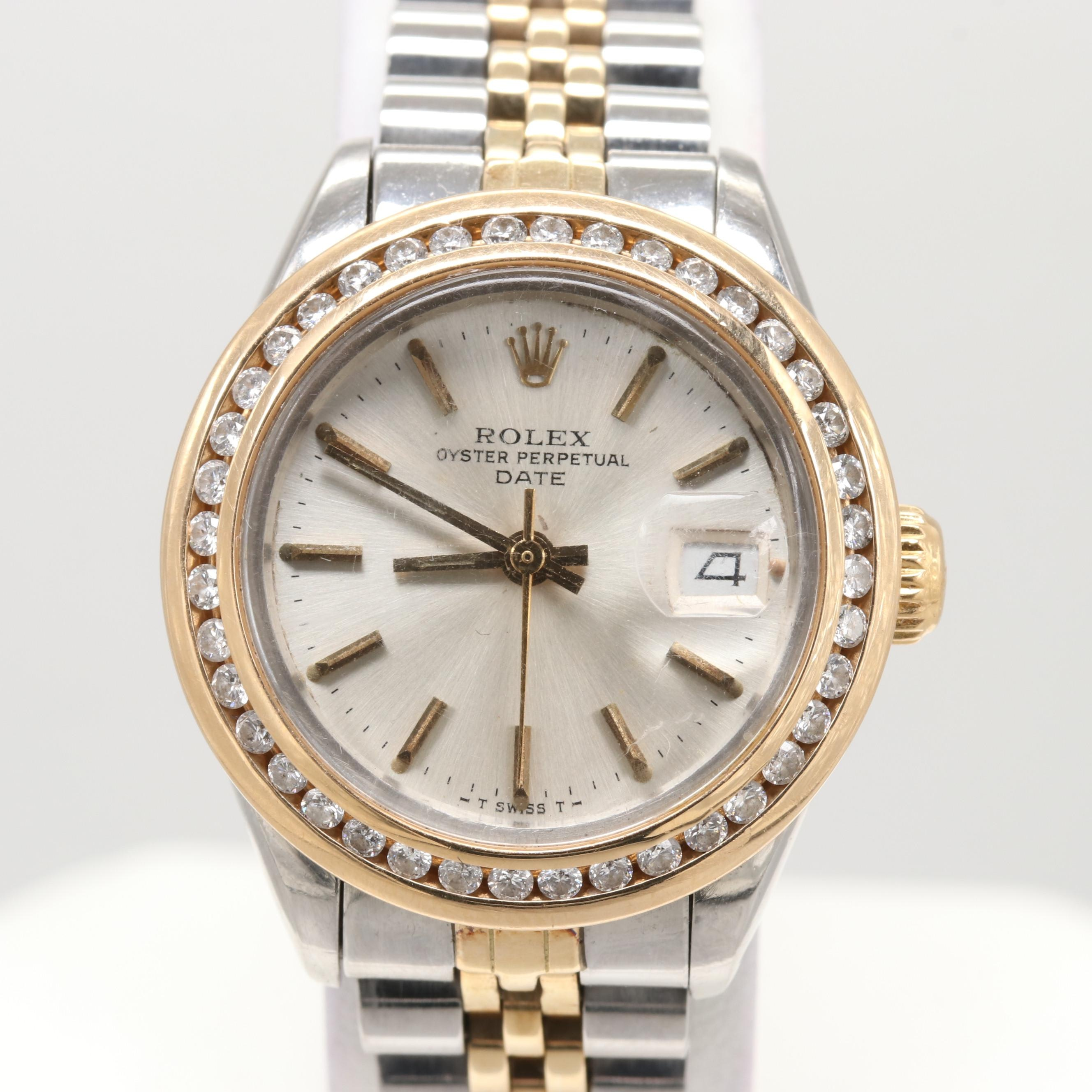 Rolex Stainless Steel and 14K Yellow Gold Diamond Wristwatch, 1979