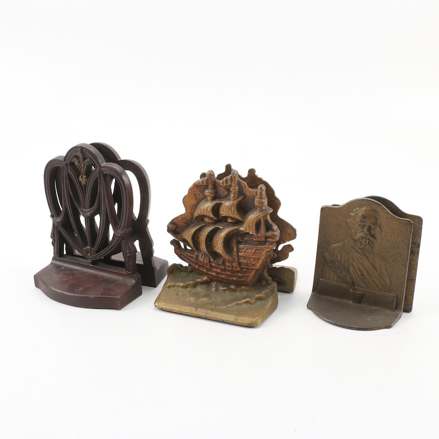 Bradley And Hubbard Metal Bookends And Vintage Cast Iron Bookends Ebth