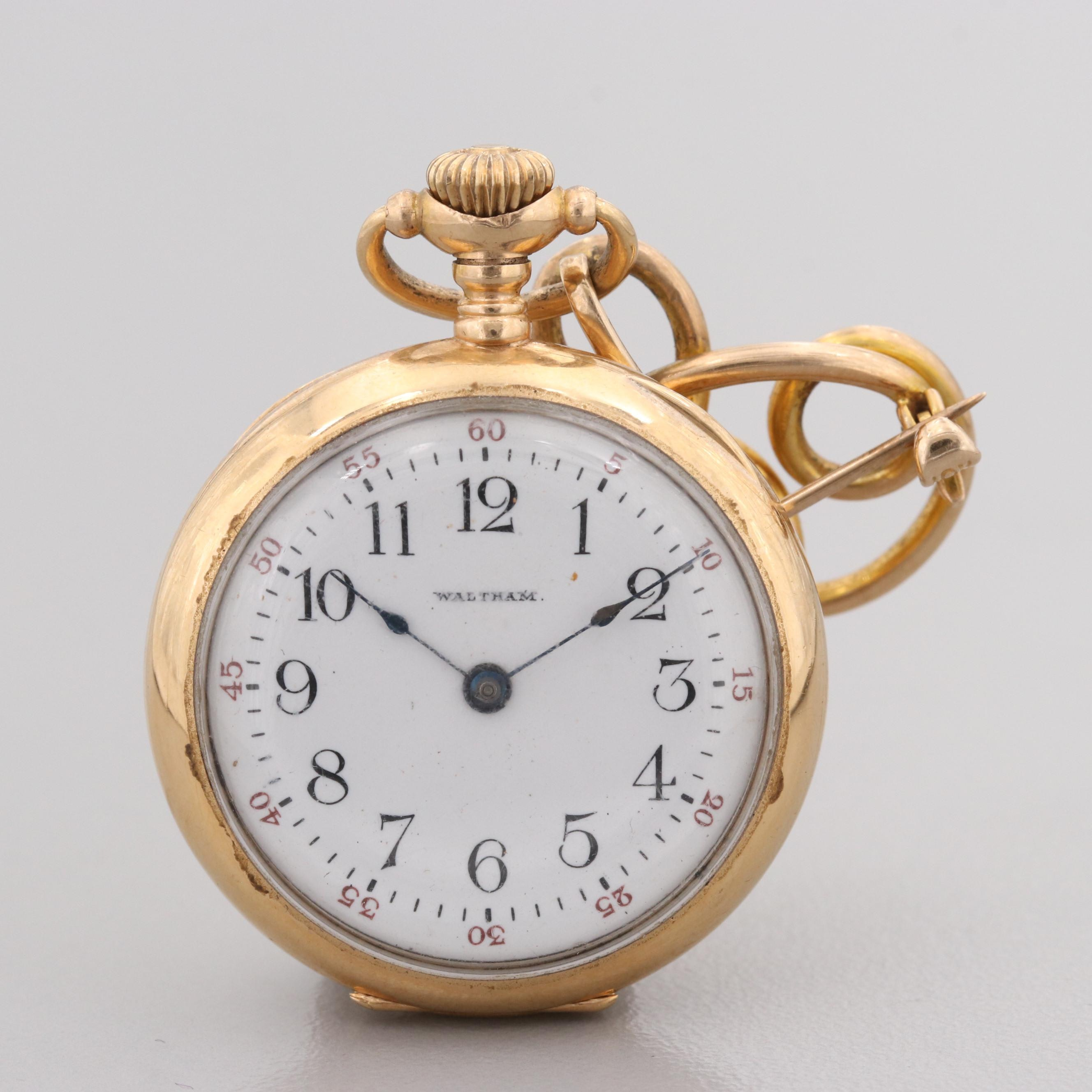 Waltham 10K and 14K Yellow Gold Pocket Watch Pin, Circa 1904
