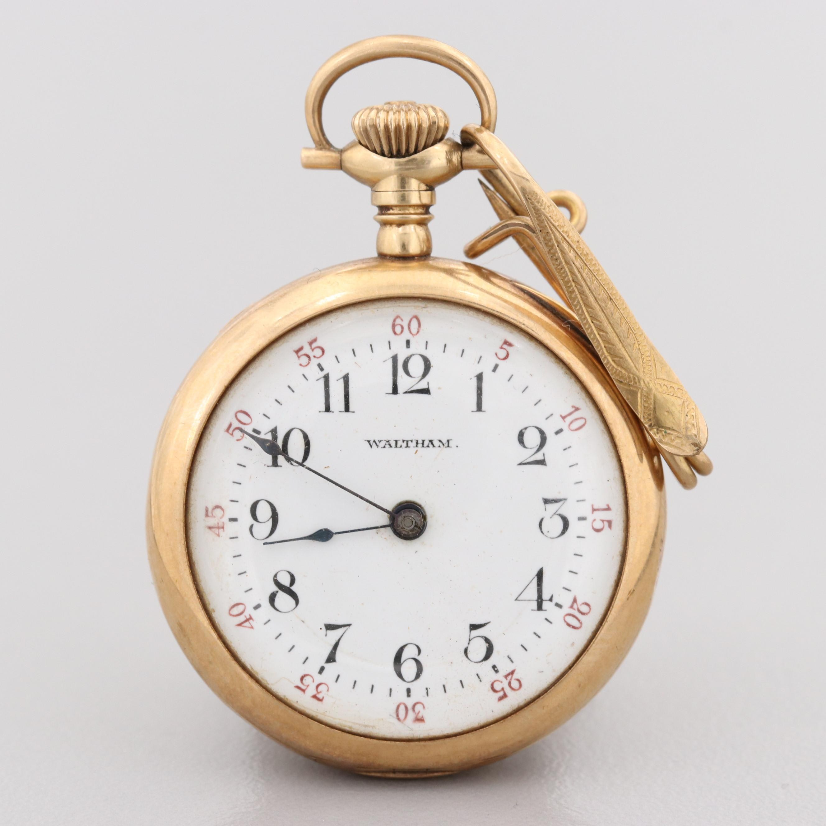 Waltham 14K Yellow Gold Pocket Watch With Pin Hook, Circa 1908