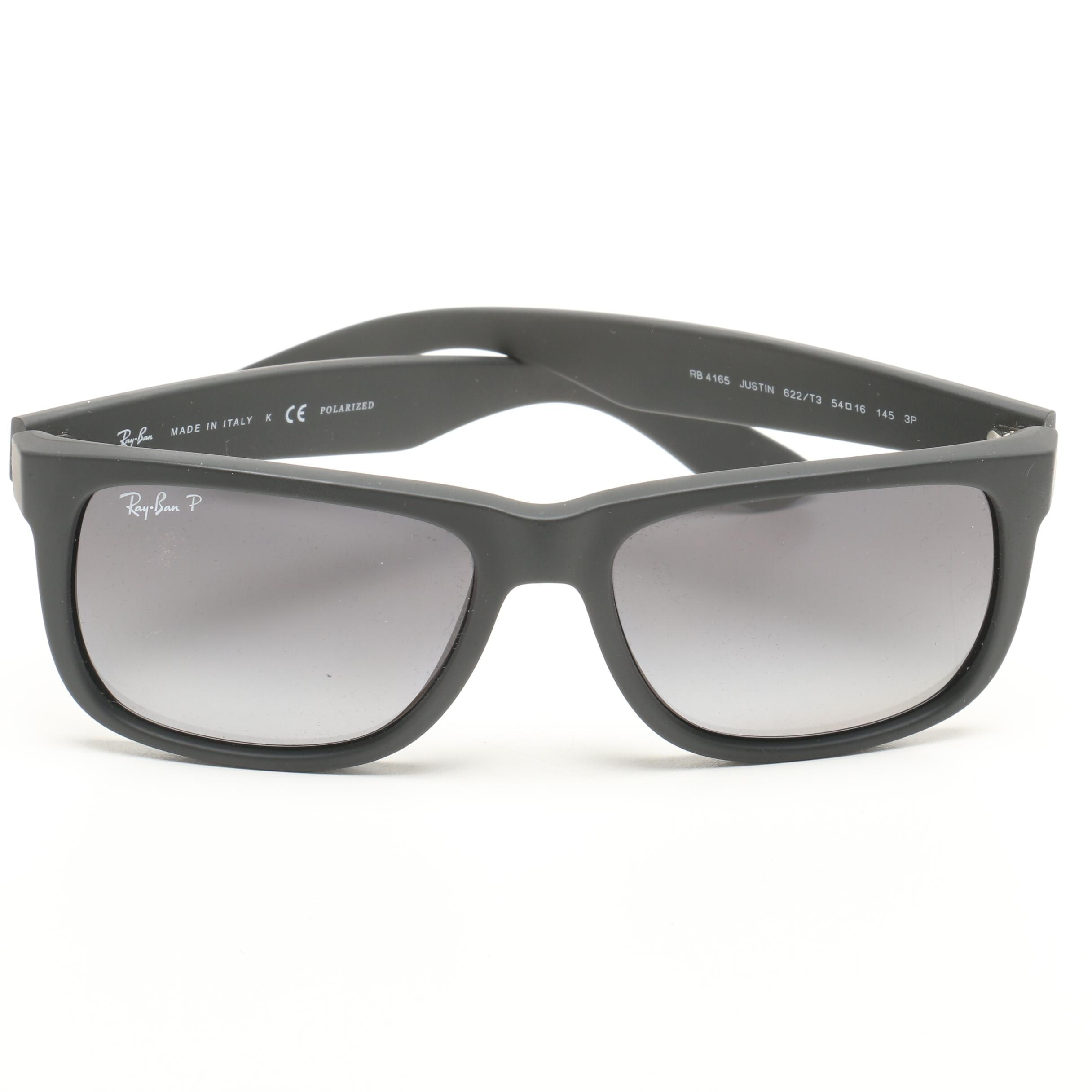 Ray-Ban Black Justin Polarized Sunglasses with Case, Made in Italy