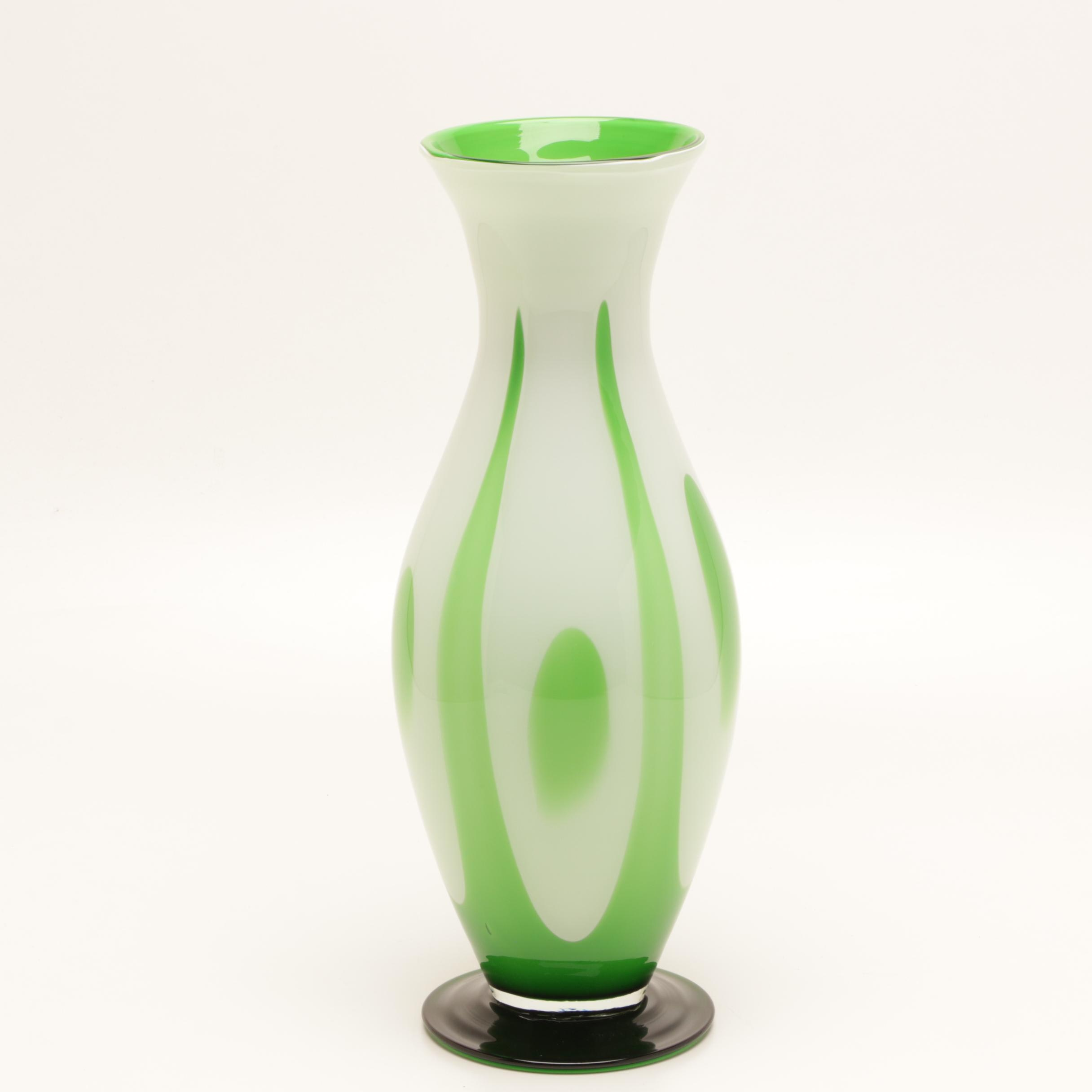 Green and White Cased Glass Vase