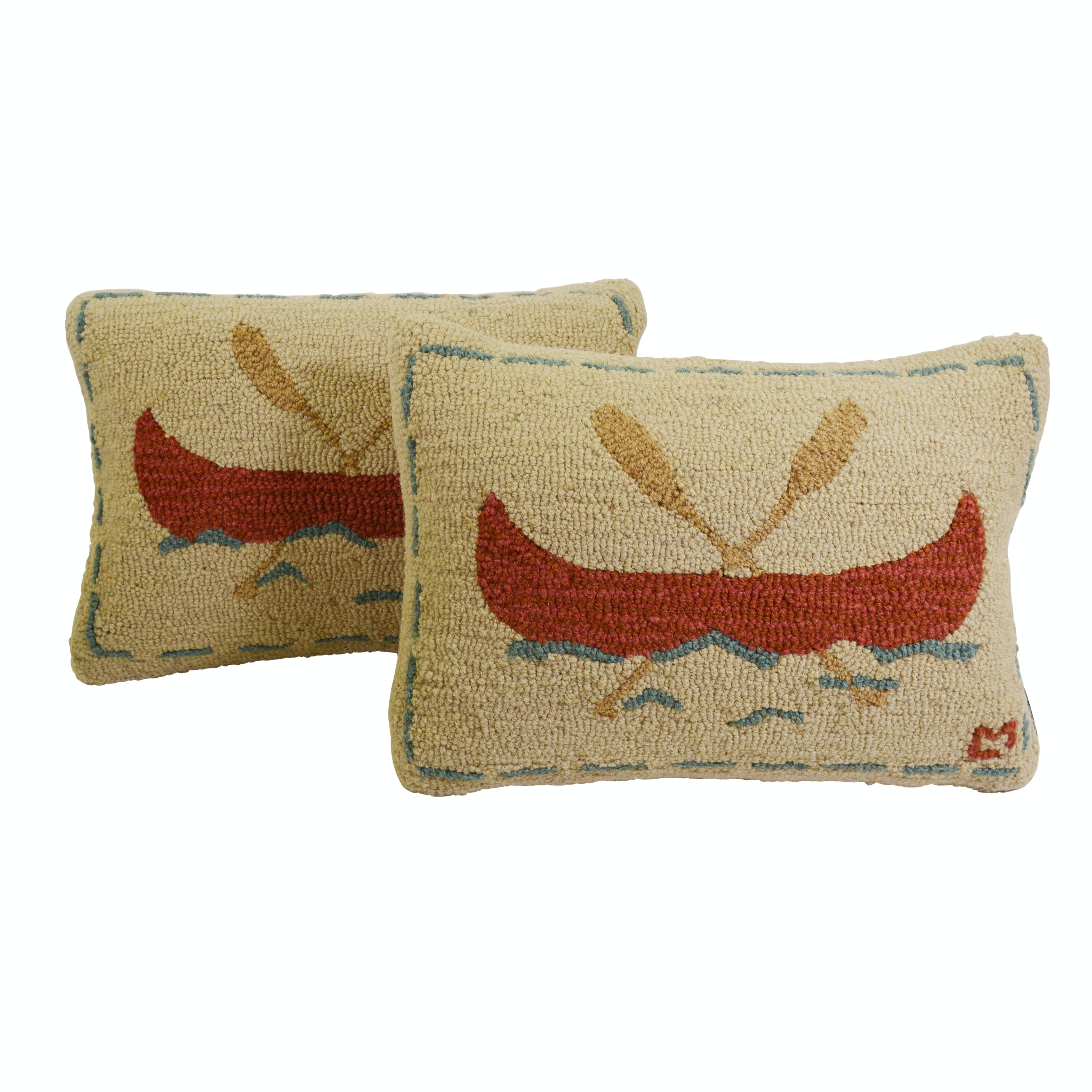 "Laura Megroz for Chandler Four Corners ""Canoe"" Hooked Wool Pillows"
