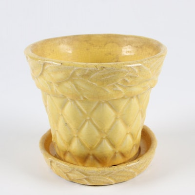 "McCoy Pottery ""Quilted"" Glazed Yellow Planter, 1940s - 1960s"