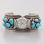 Lorus Sterling Silver and Turquoise Quartz Wristwatch