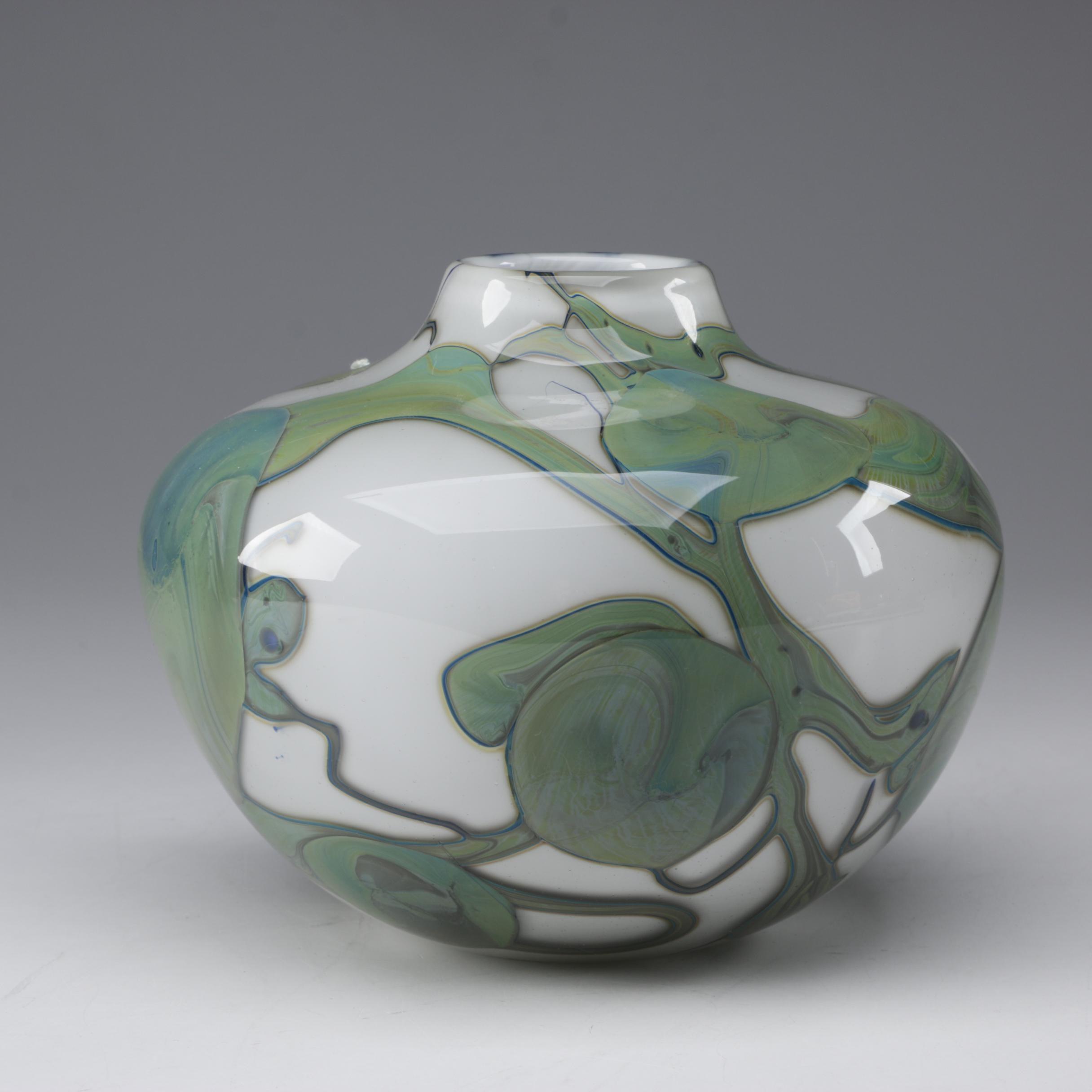 John Byron Art Glass Vase, 1978