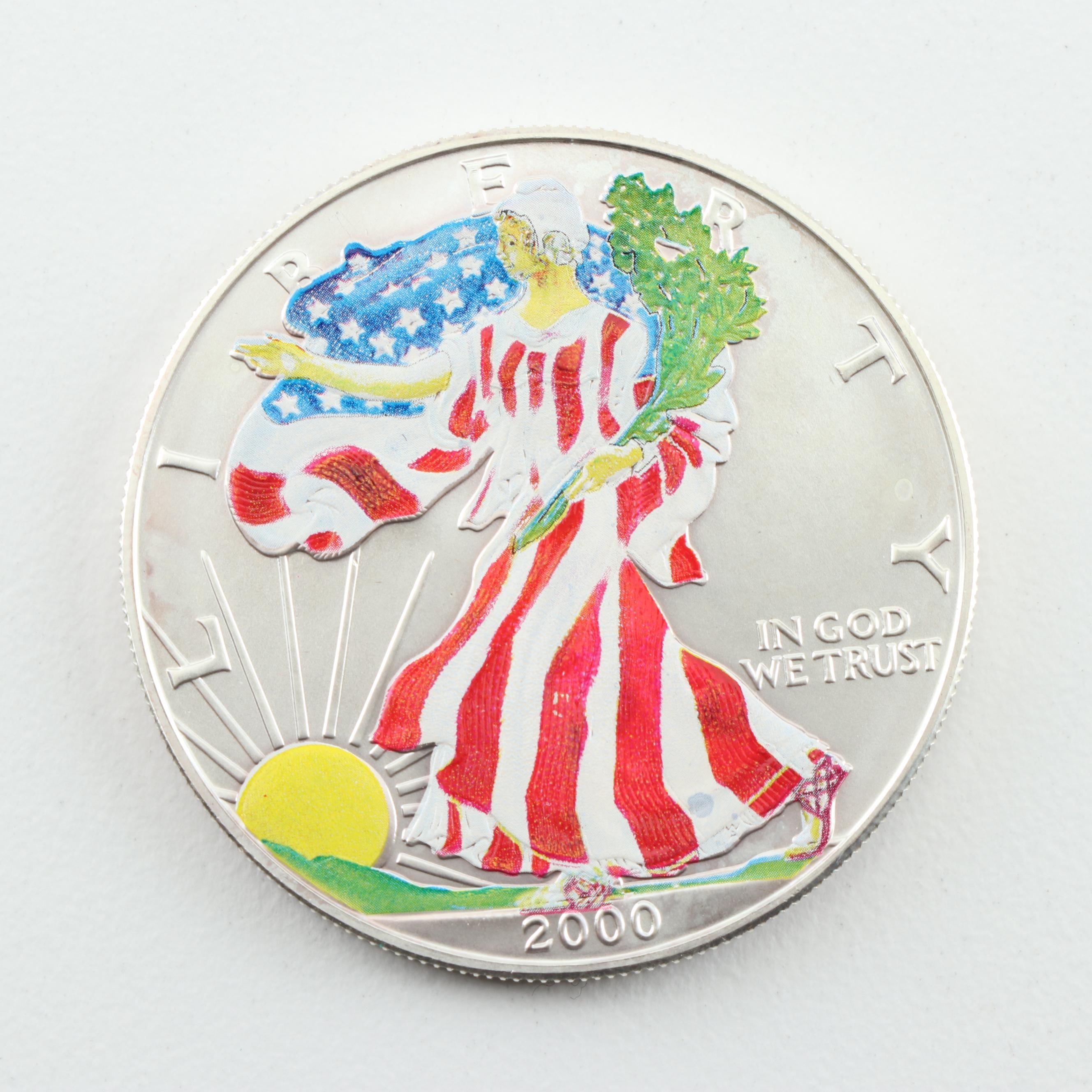 A Colorized 2000 American Silver Eagle Bullion Coin