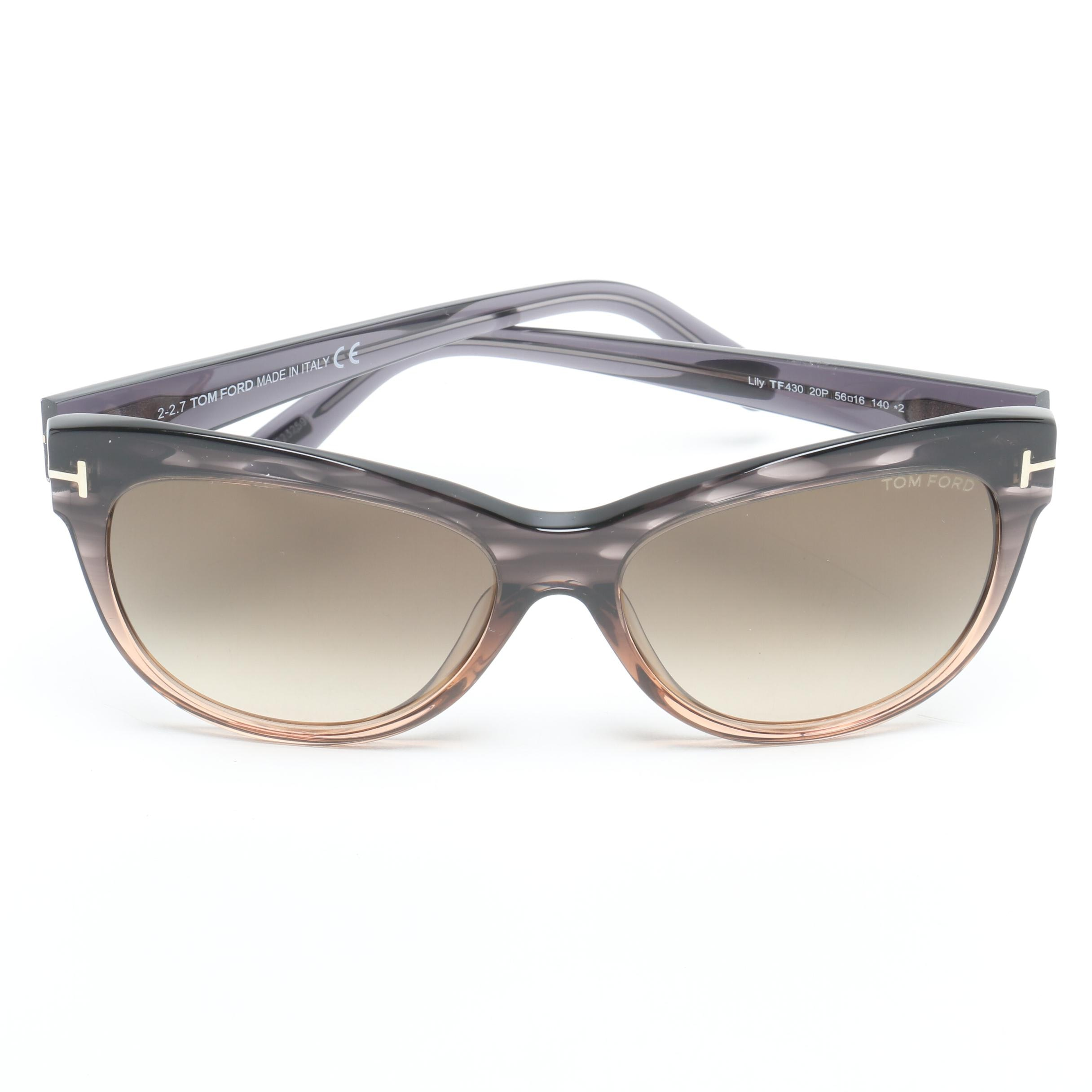 Tom Ford Lily Cat Eye TF430 Sunglasses with Case, Made in Italy