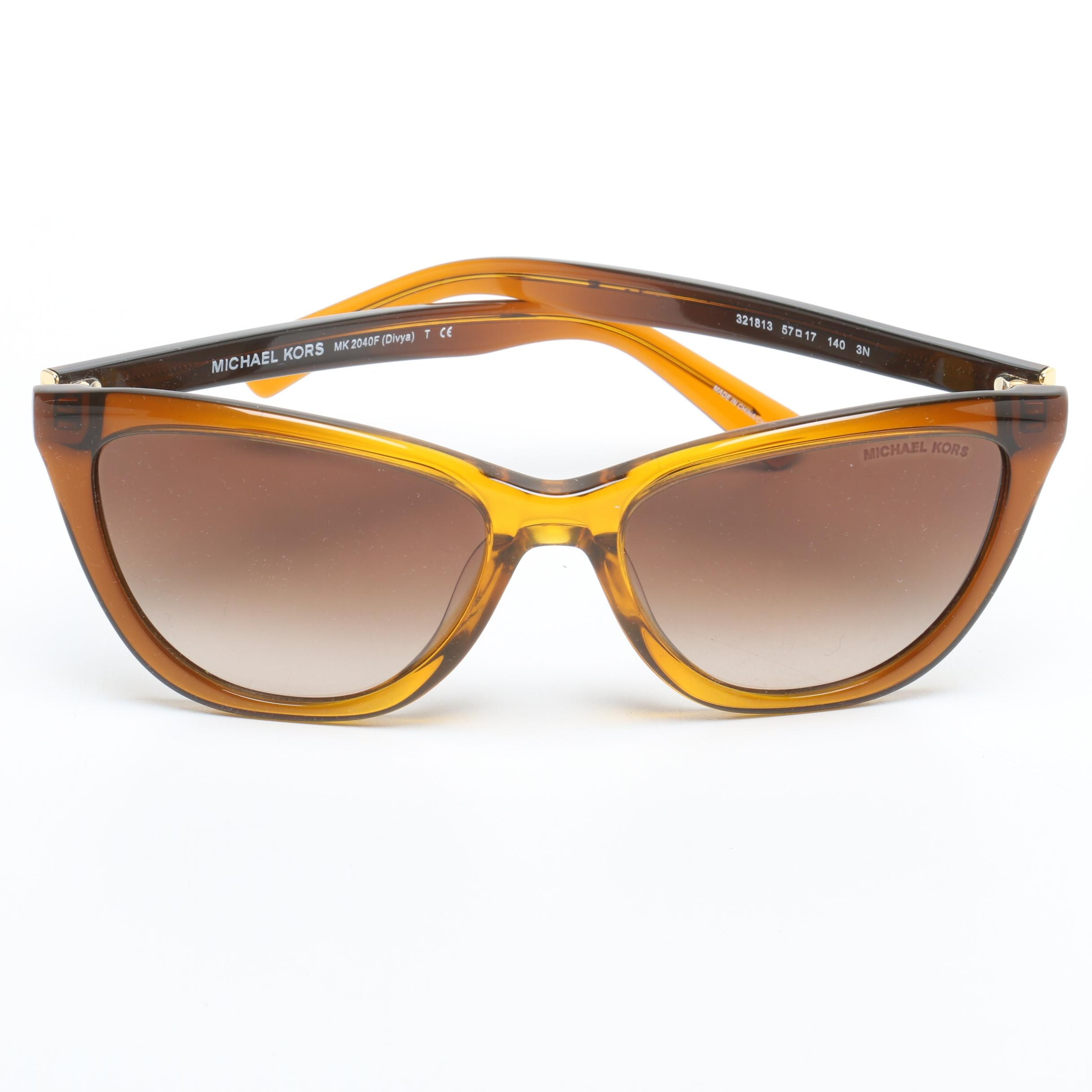 Michael Kors Divya Brown Translucent Cat Eye Sunglasses with Case