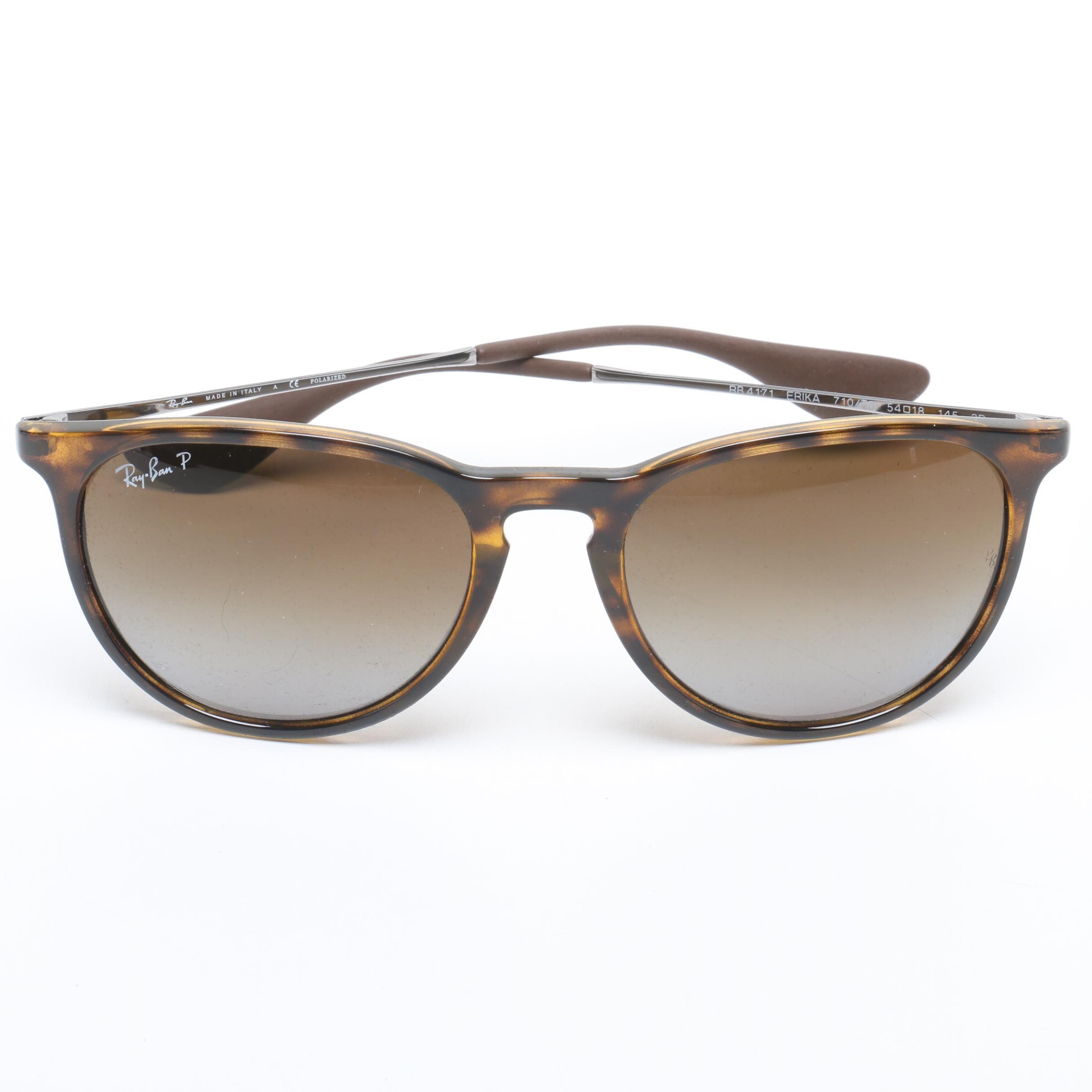 Ray-Ban Tortoiseshell Style Erika Polarized Sunglasses, Made in Italy