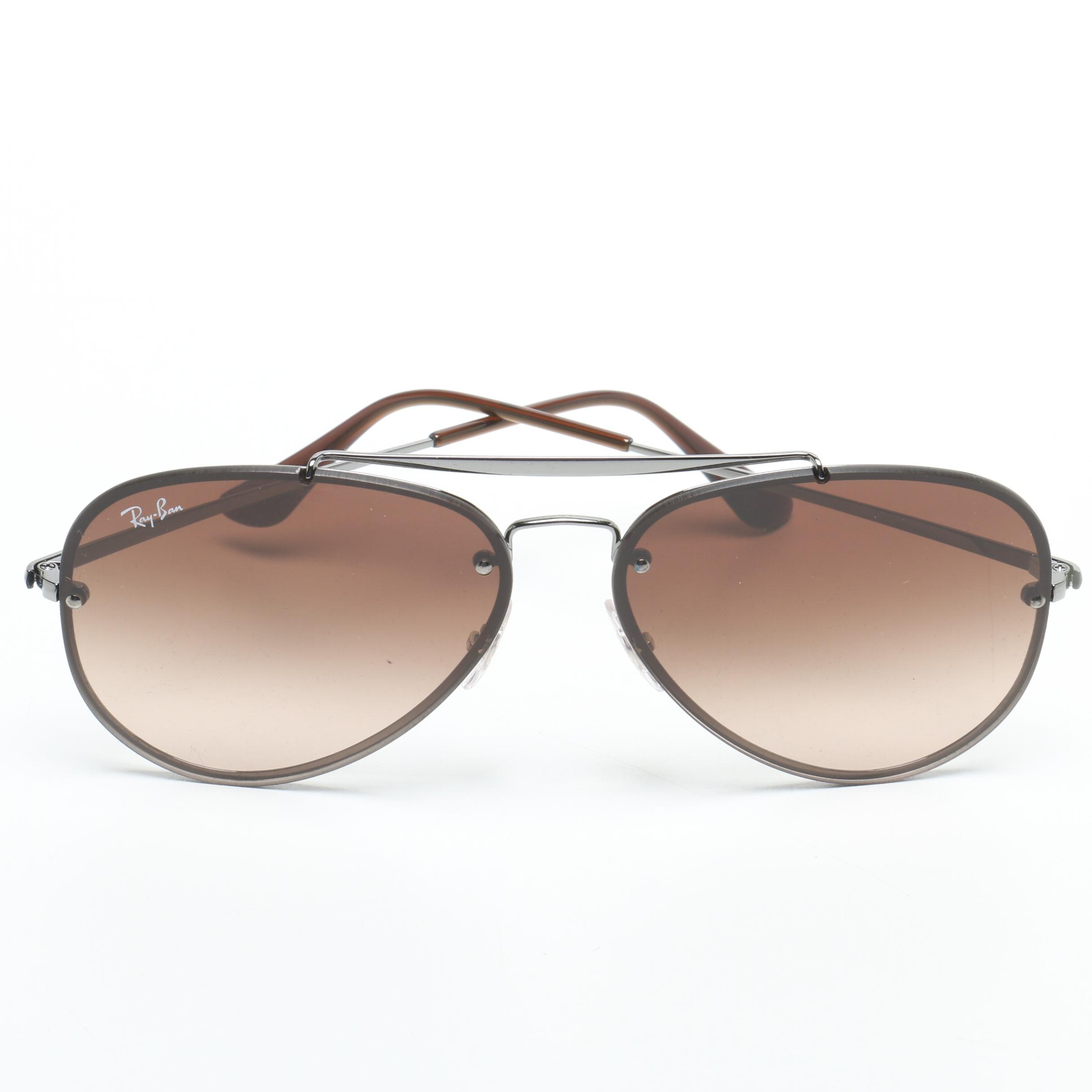 Ray-Ban Rimless Brown and Gunmetal Gray Aviator Sunglasses with Case