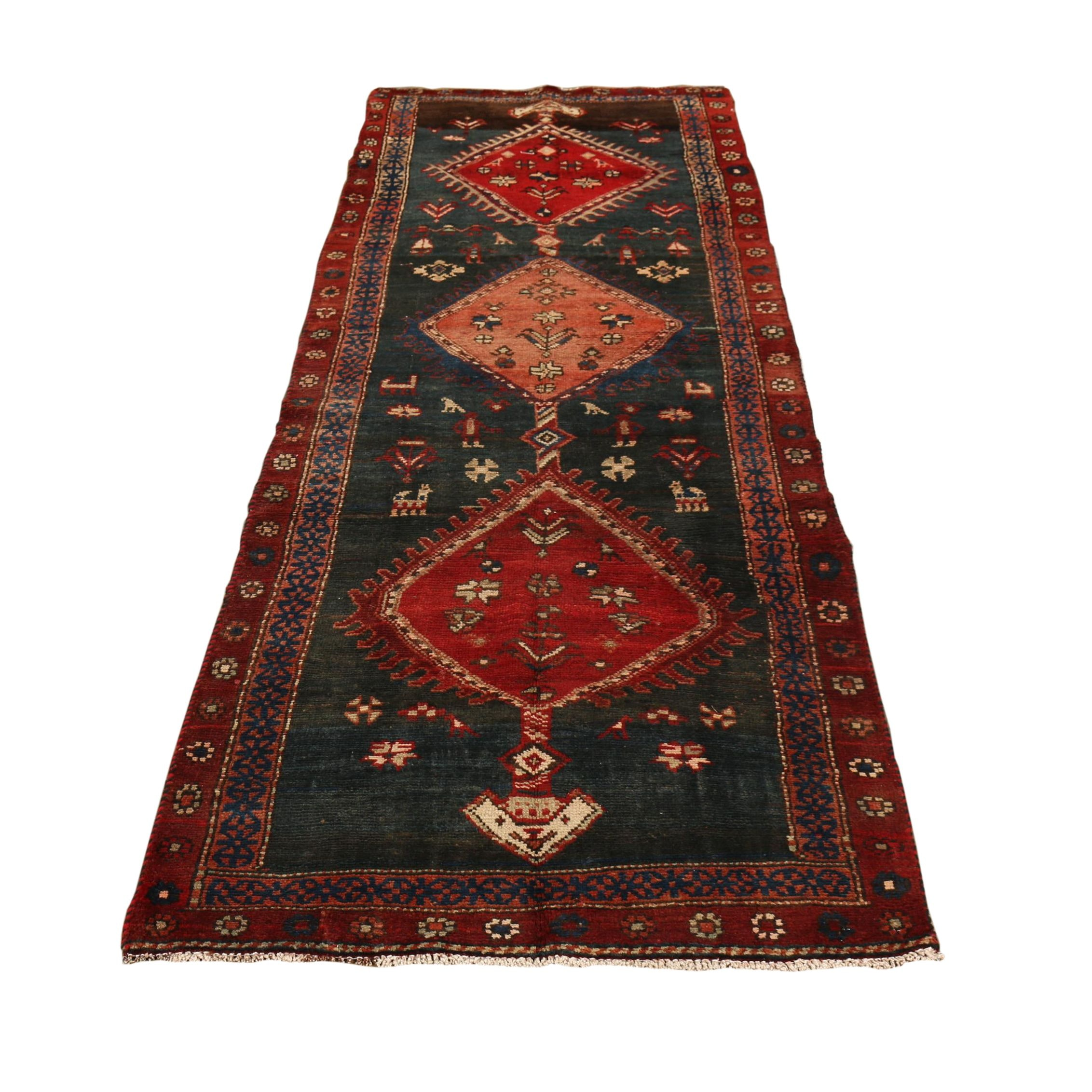 Hand-Knotted Persian Khamseh Wool Long Rug