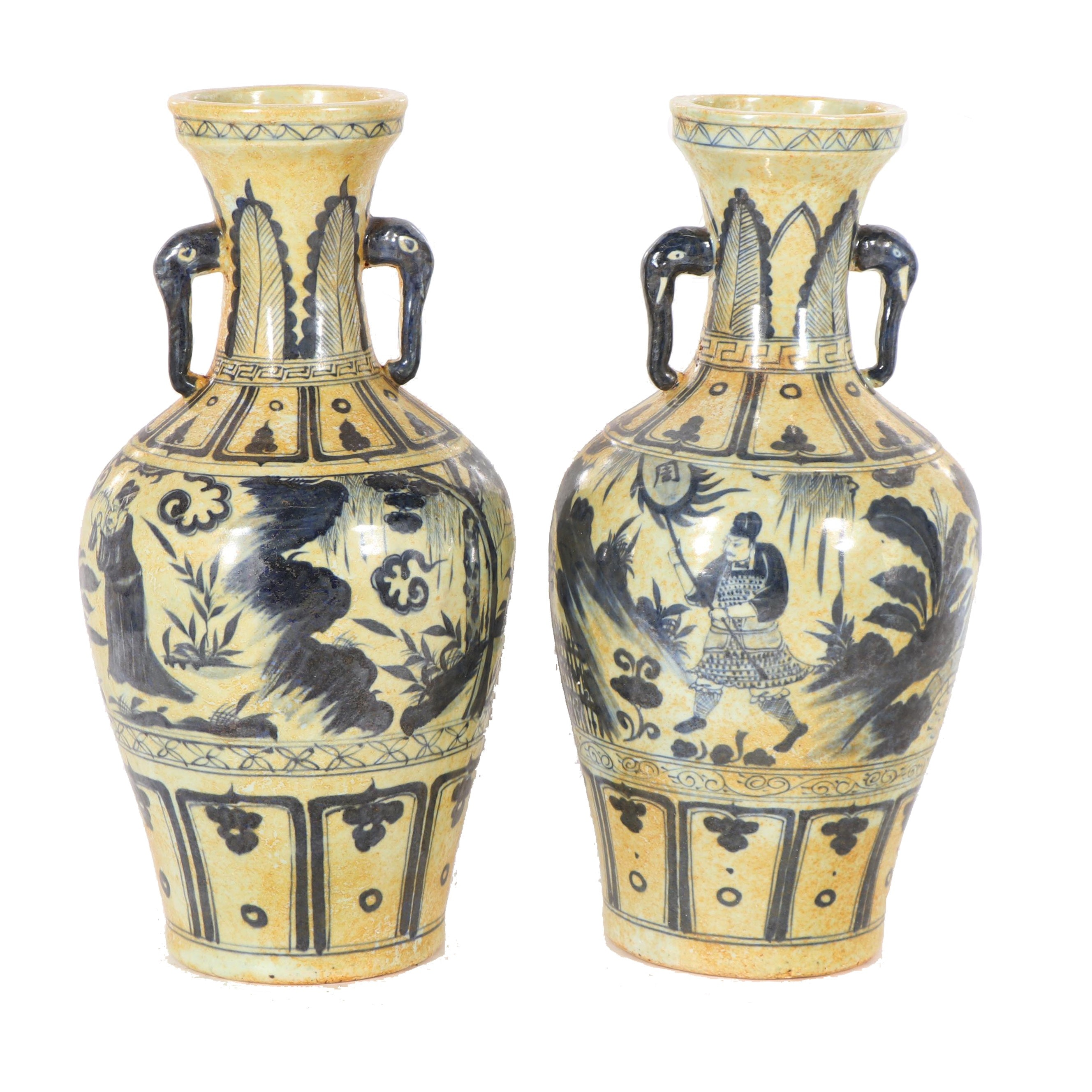 Chinese Blue and White Ceramic Vases with Handles
