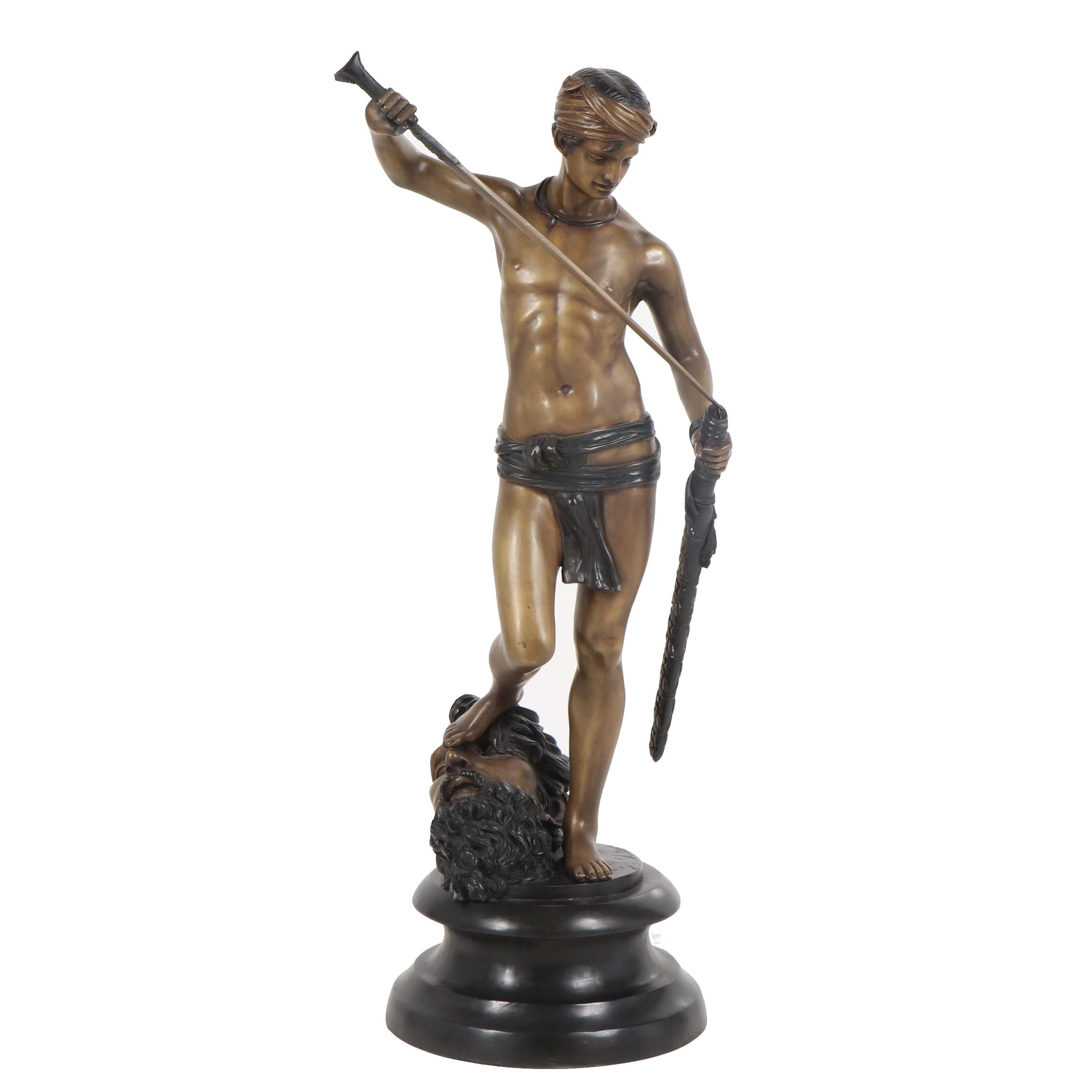 David and Goliath Bronze Sculpture After Antonin Mercié