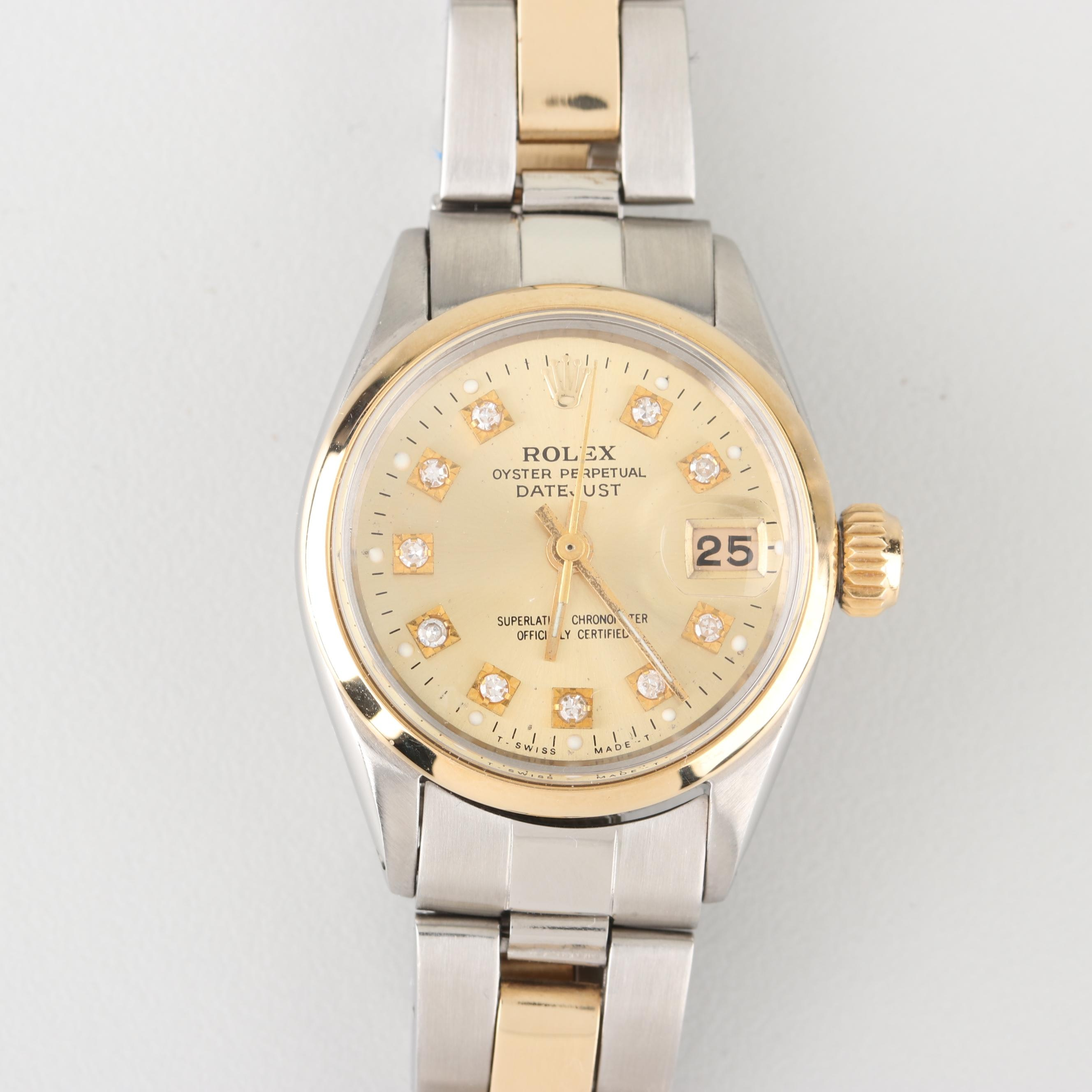 Rolex Datejust 18K Yellow Gold, Stainless Steel, and Diamond Wristwatch