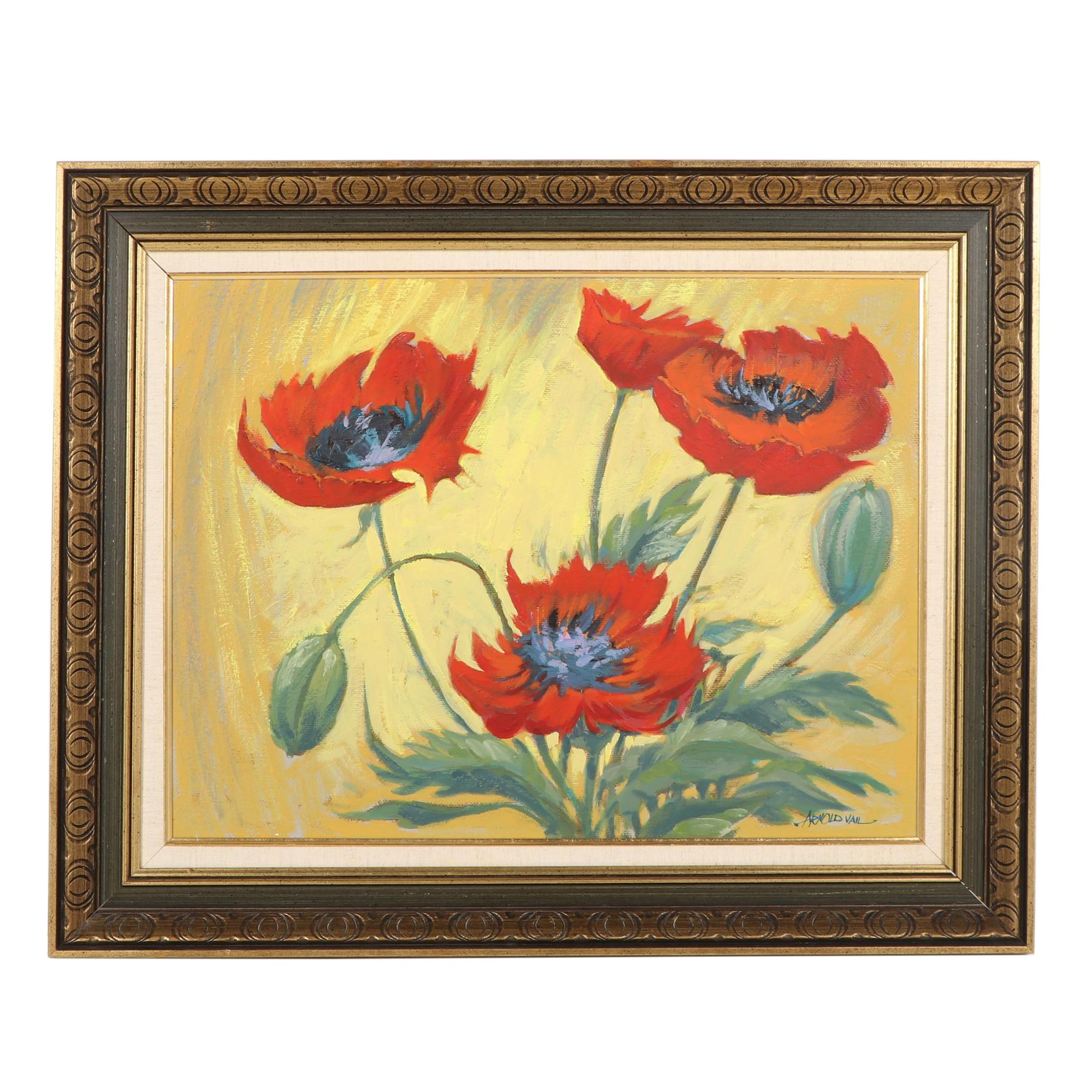 Arnold Vail Oil Painting of Poppies