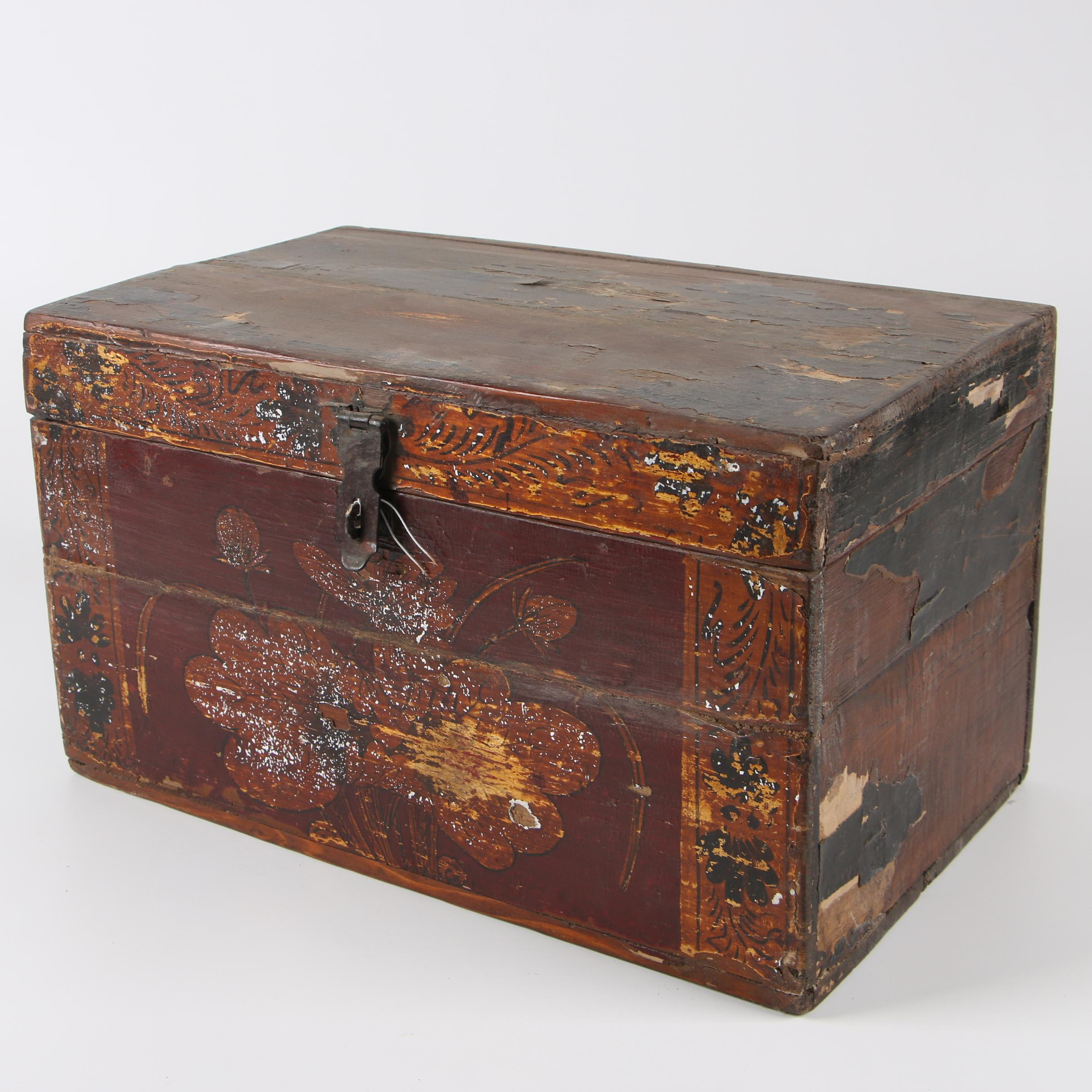 Chinese Painted and Parcel Gilt Wooden Lockbox
