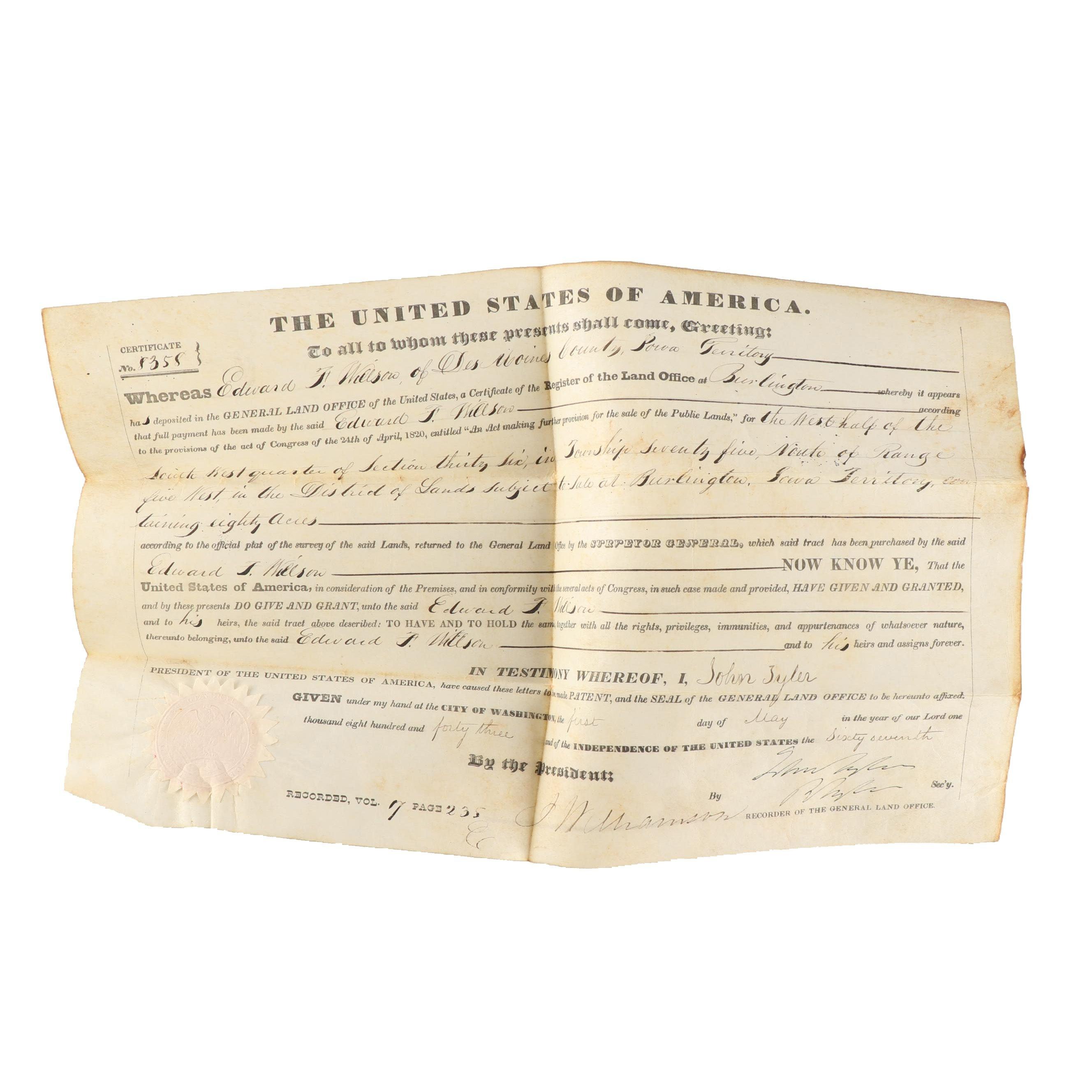 1843 Land Grant Signed by Secretary for President John Tyler
