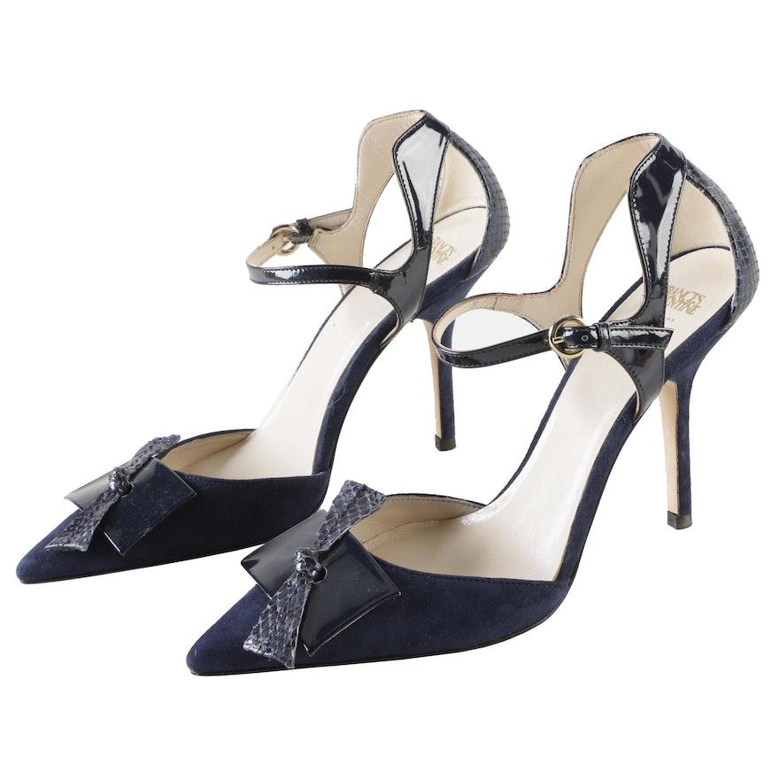 0546e1d282e Frances Valentine New York Julia Navy Blue d Orsay Ankle Strap Pumps ...