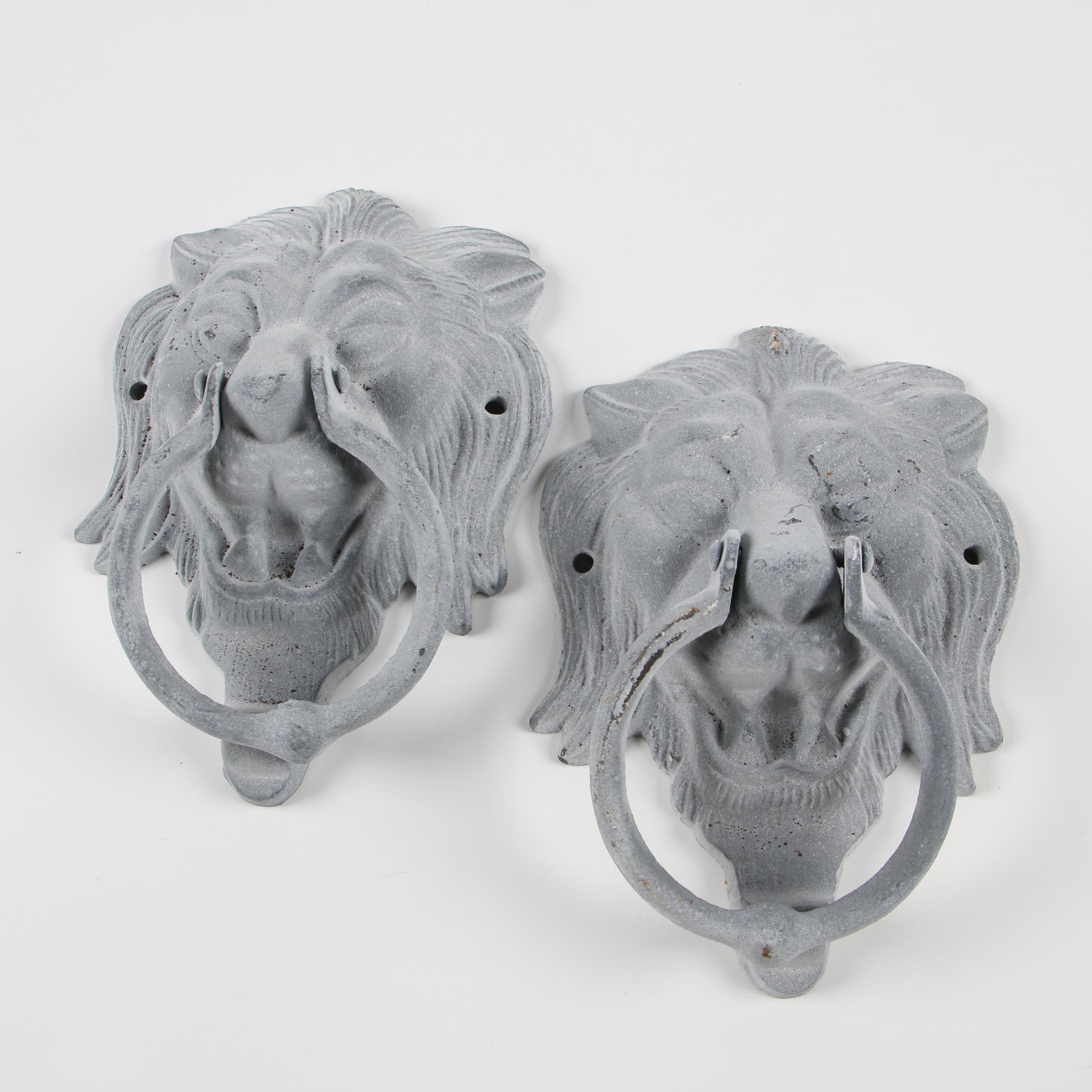 Pair of Cast Metal Lion Door Knockers