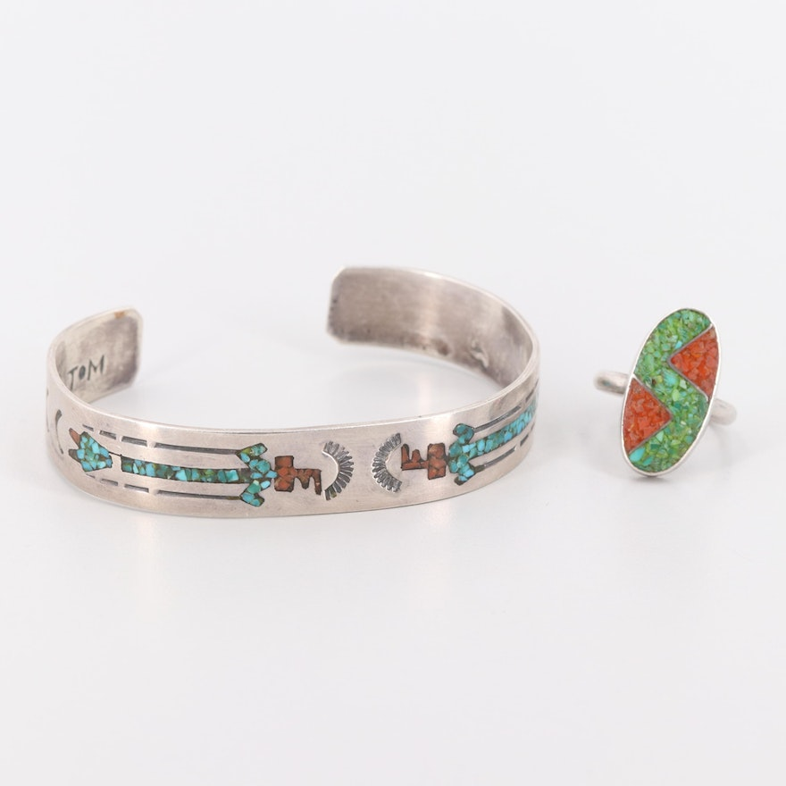 e4c71abda Southwestern Style Sterling Turquoise and Coral Inlay Cuff Bracelet and Ring