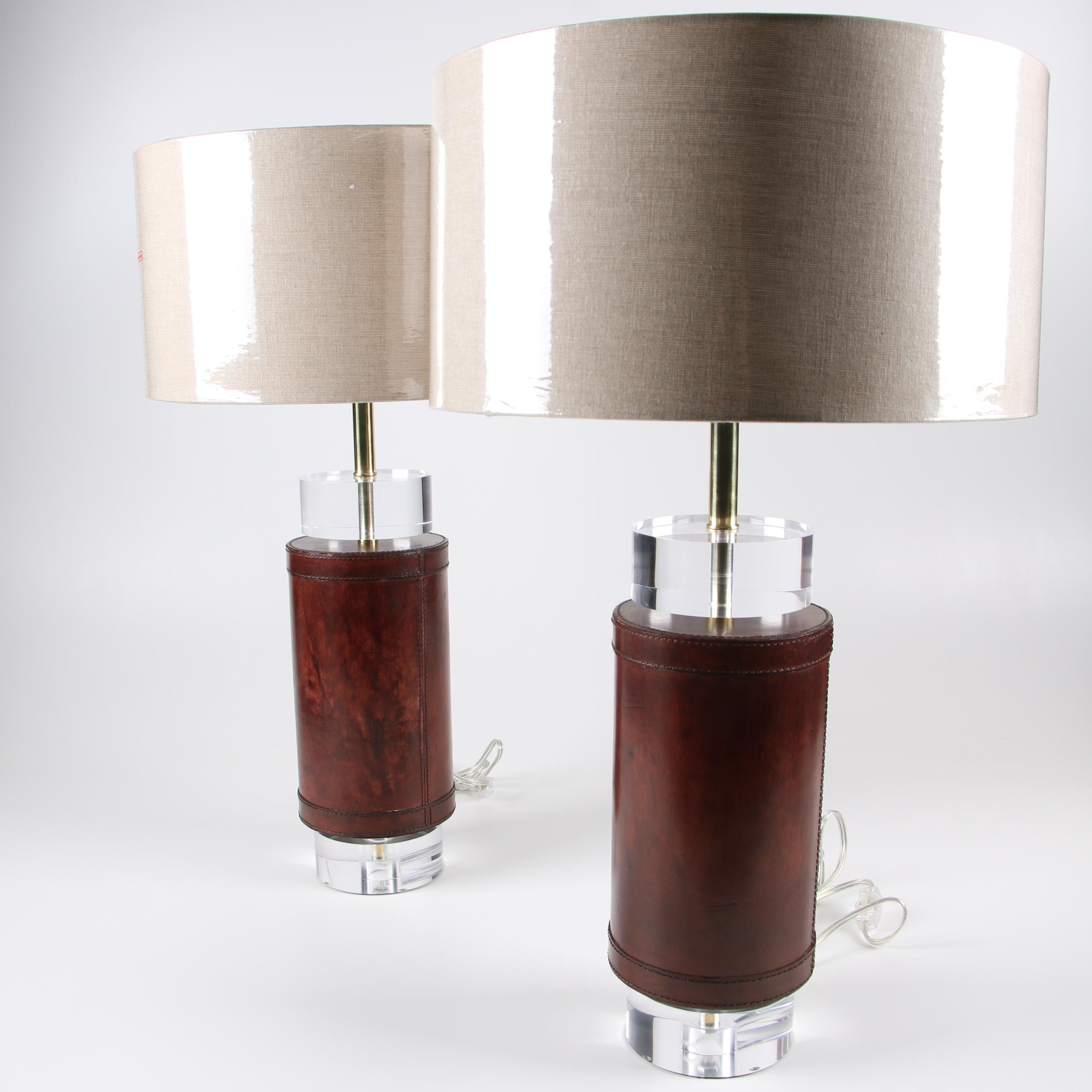 """Leathermans"" Leather-Wrapped Lucite Table Lamps with Shades"