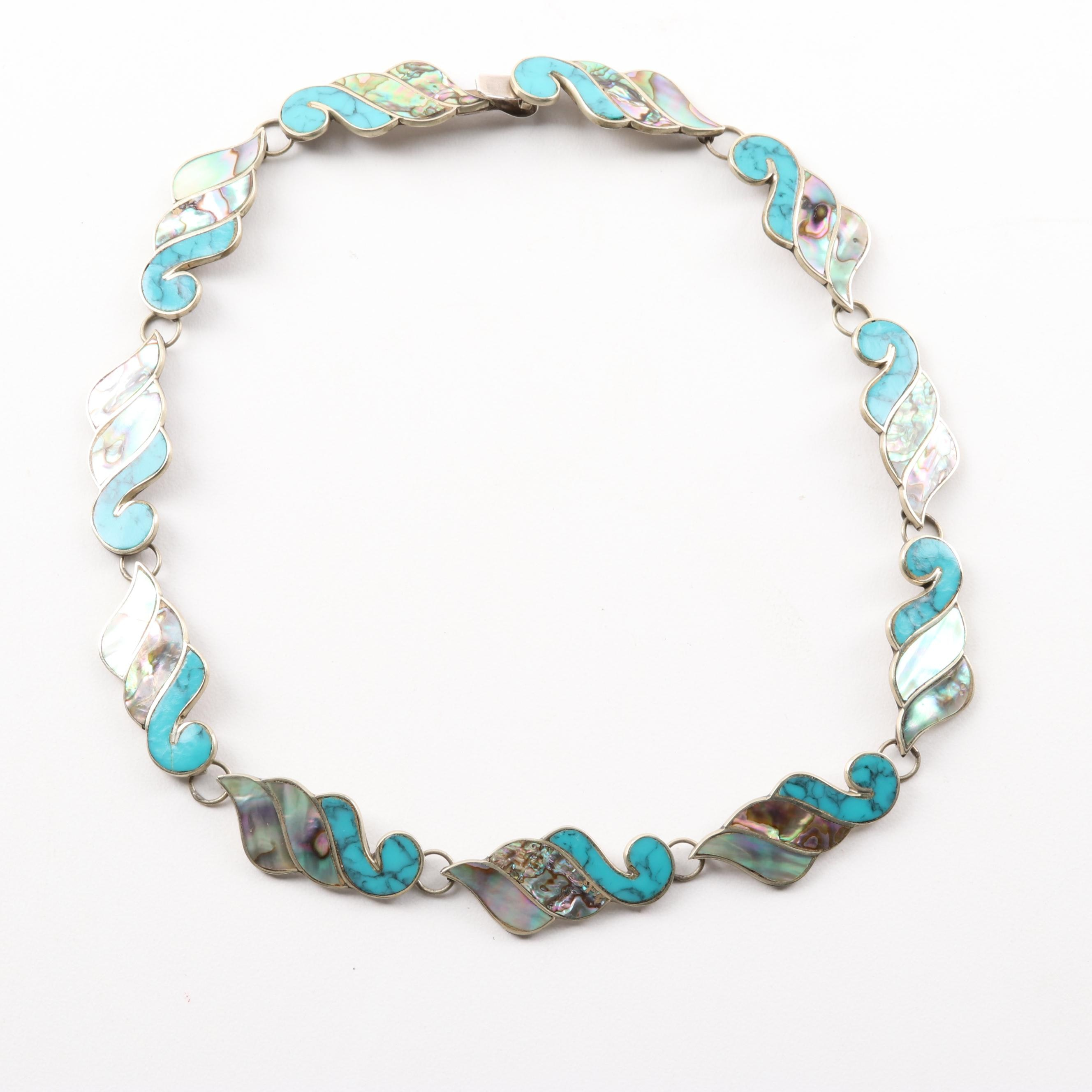 Sterling Silver Abalone and Turquoise Necklace