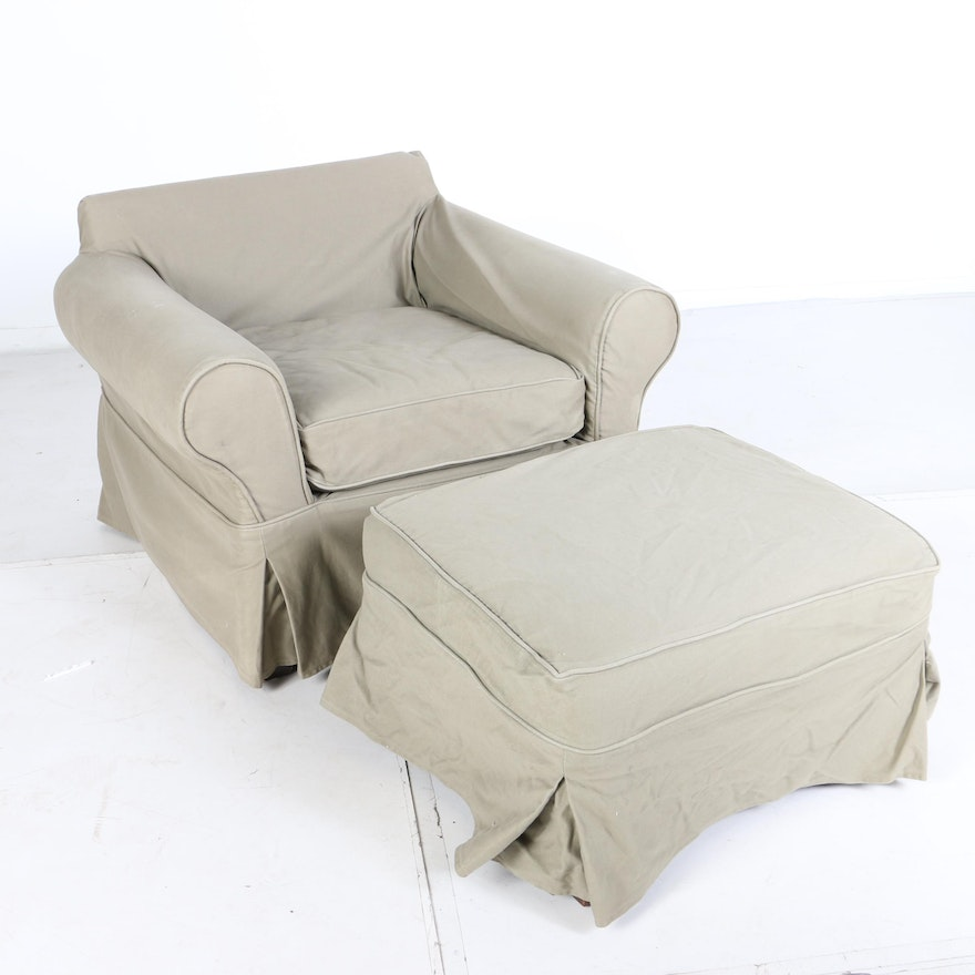 Contemporary Slipcovered Armchair And Ottoman By Mitchell Gold For Pottery Barn