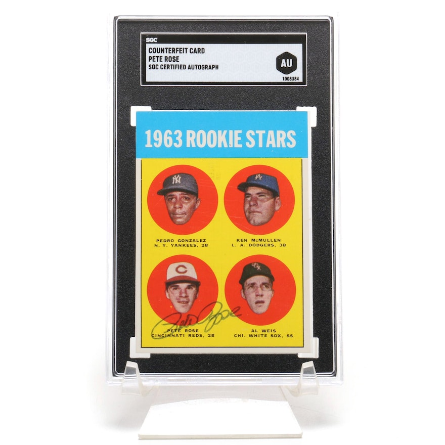Pete Rose Signed 1963 Counterfeit Rookie Stars Card