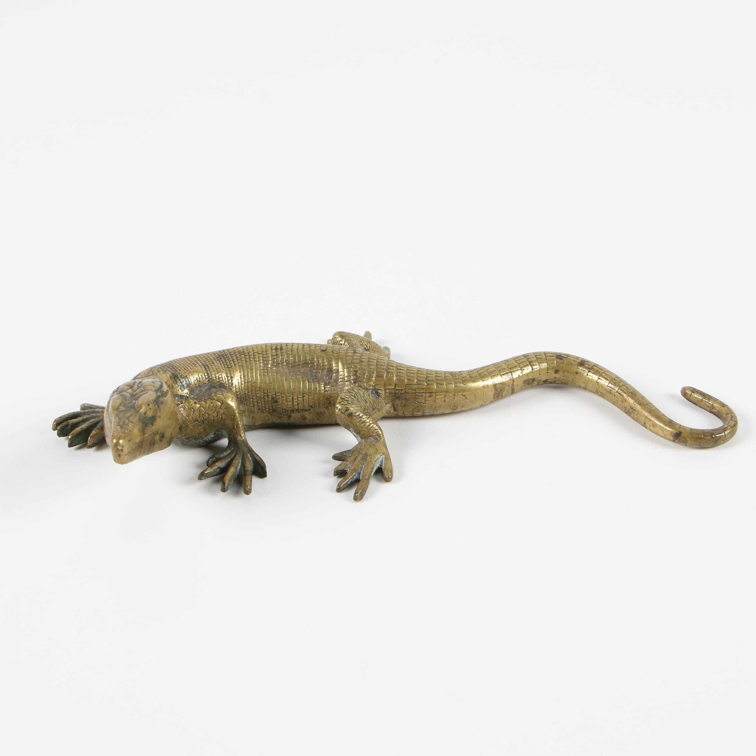 Cast Brass Lizard Figurine, 20th Century