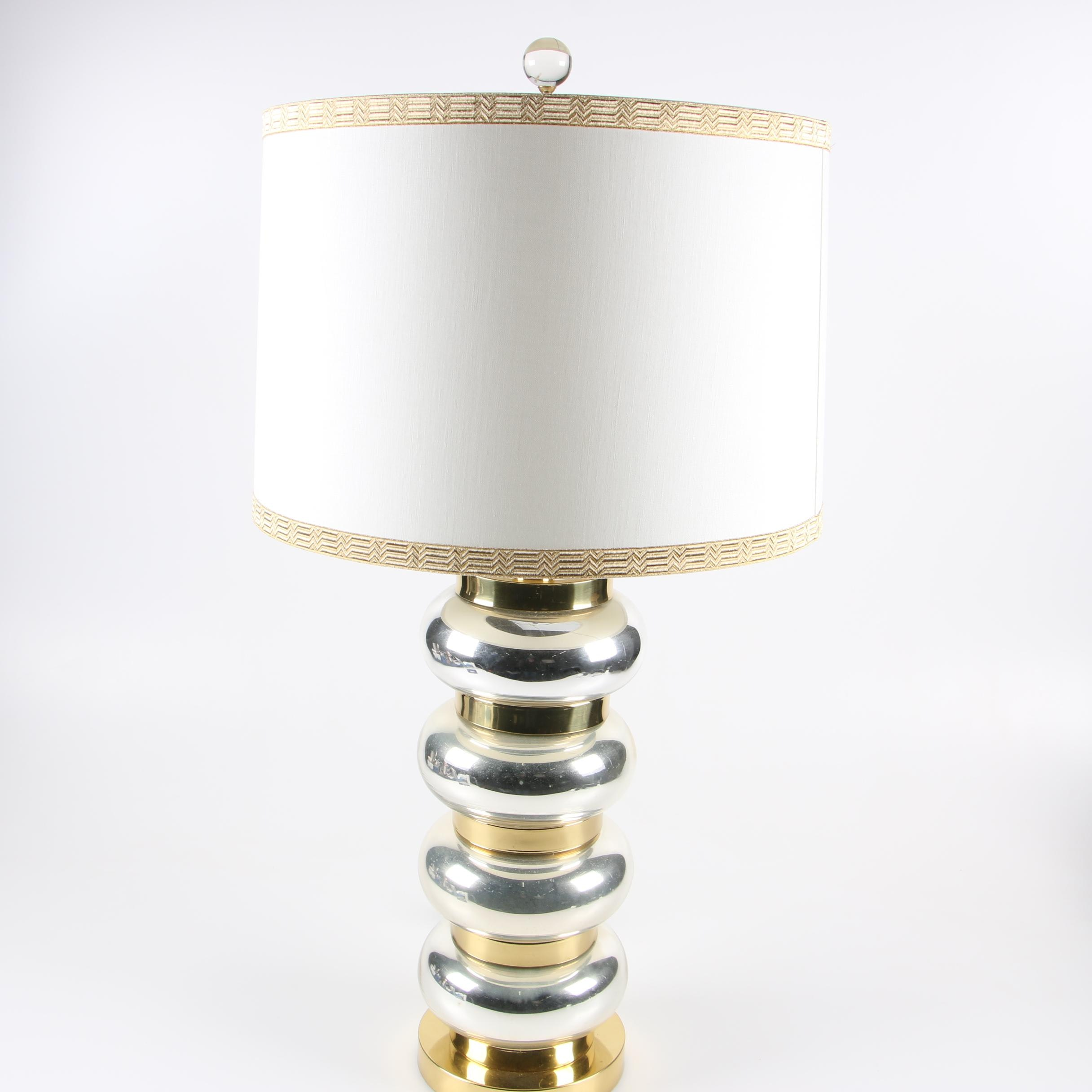 Paul Hanson Gold and Silver Glass Stacked Orb Table Lamp, Late 20th Century